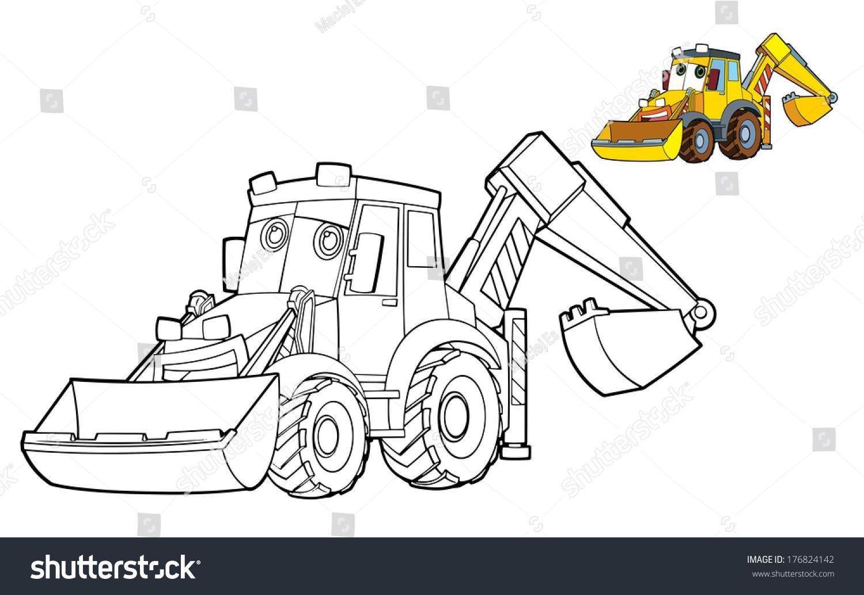 85 Coloring Page Excavator Illustration Children Stock