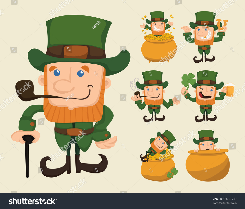 set leprechaun characters poses eps10 vector stock vector