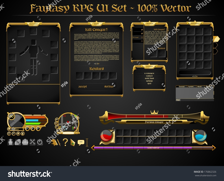 Fantasy Rpg Ui Set Stock Vector Illustration 176862326