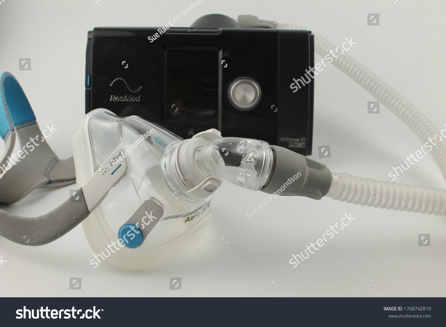 Upholland, Lancashire, UK, 03/07/2020: CPAP machine with adult full face mask for the treatment of sleep apnoea