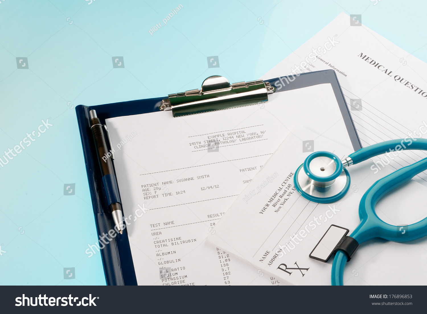 Medical documents medical questionnaire prescription and blood test with a stethoscope on blue background