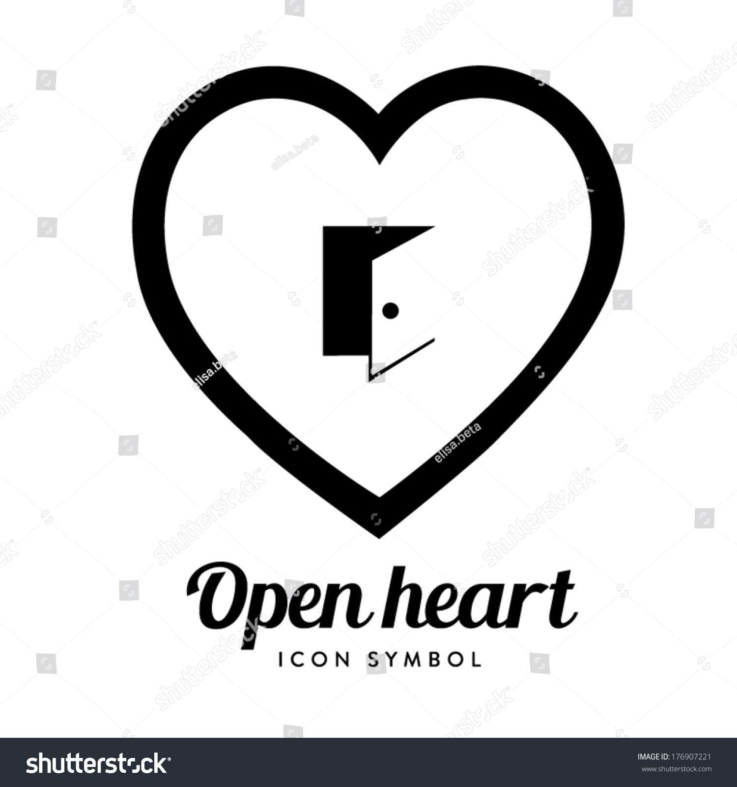 Open heart symbol stock vector 176907221 shutterstock open heart symbol buycottarizona Gallery