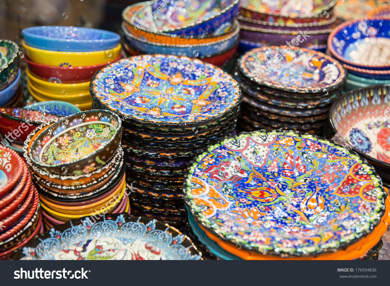 Beautiful Arabic Plates Selling On Eastern Stock Photo