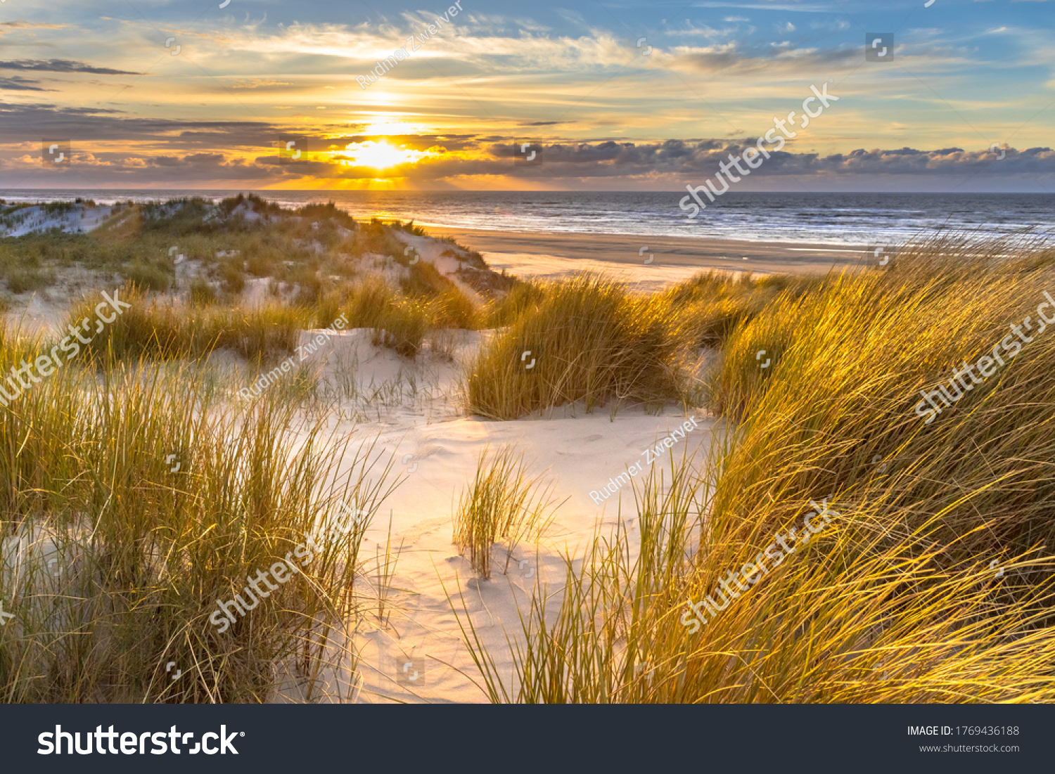 View from dune top over sunset in North Sea from the island of Ameland, Friesland, Netherlands #1769436188