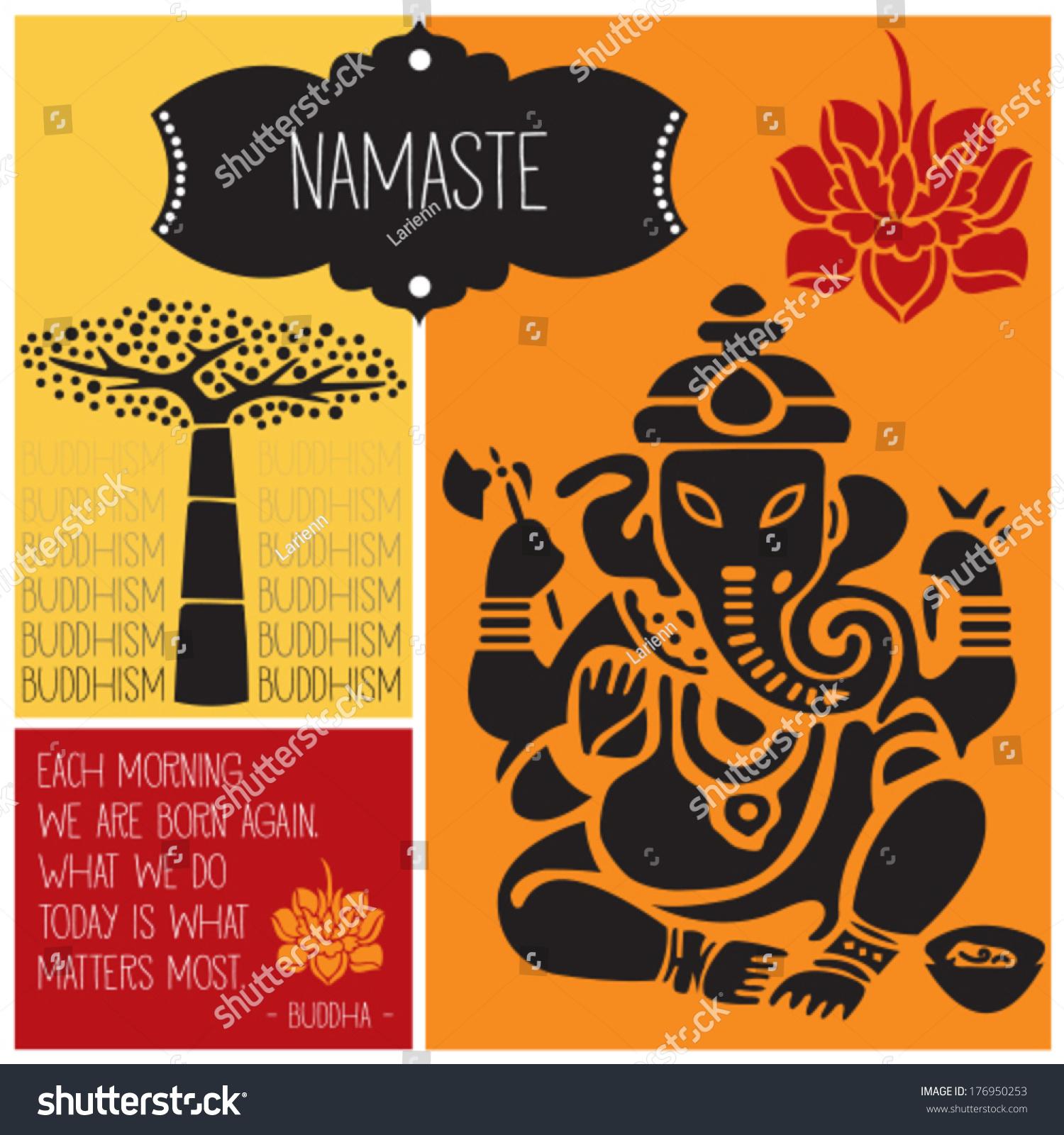 Ganesha Namaste Buddhism Vector Illustration Stock Vector Royalty