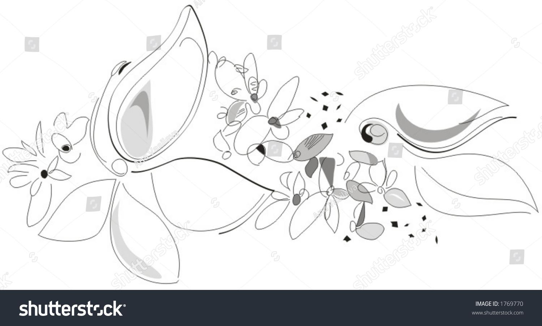 Nature Spring Flowers Black White Vector Stock Vector 1769770