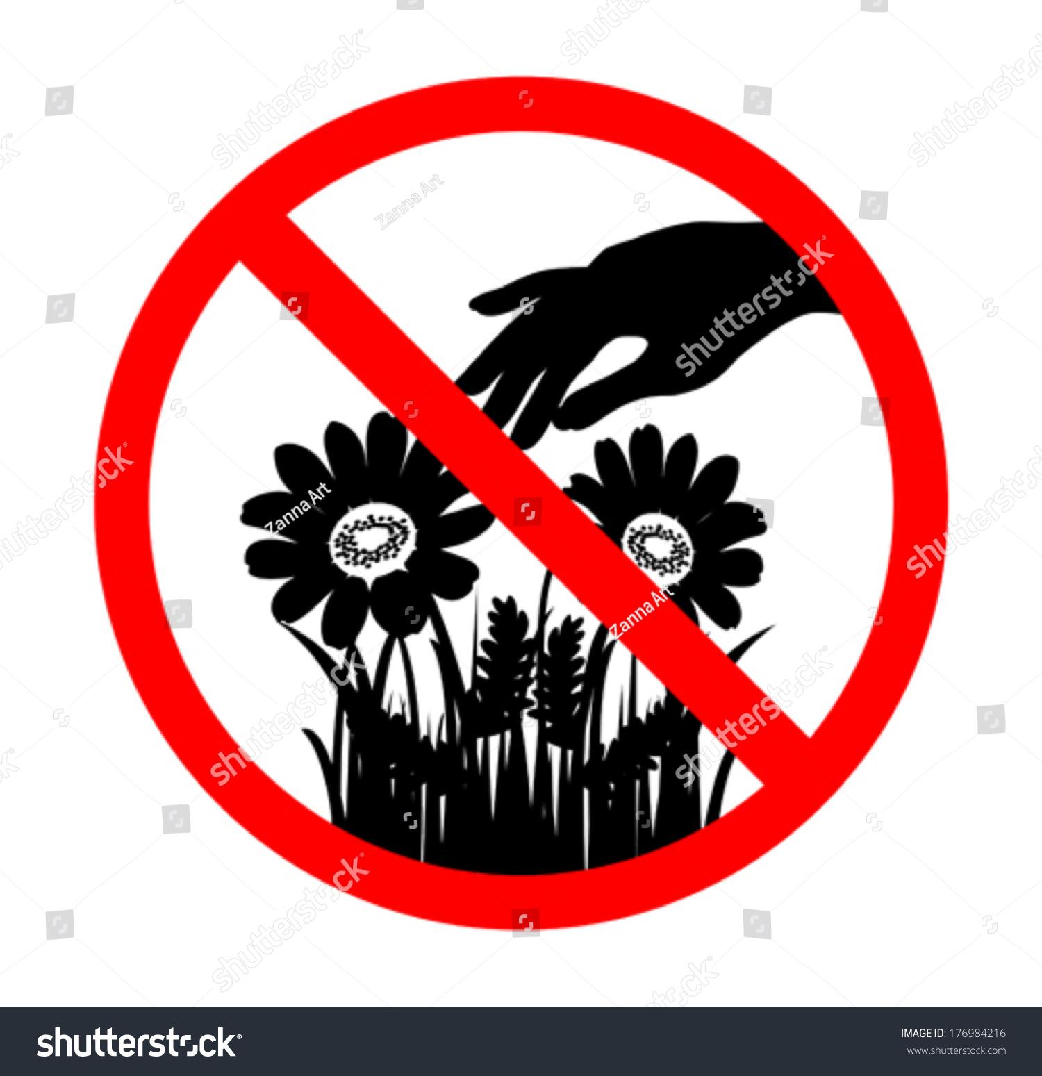 Do Not Pick Flower Sign Black Stock Vector 176984216