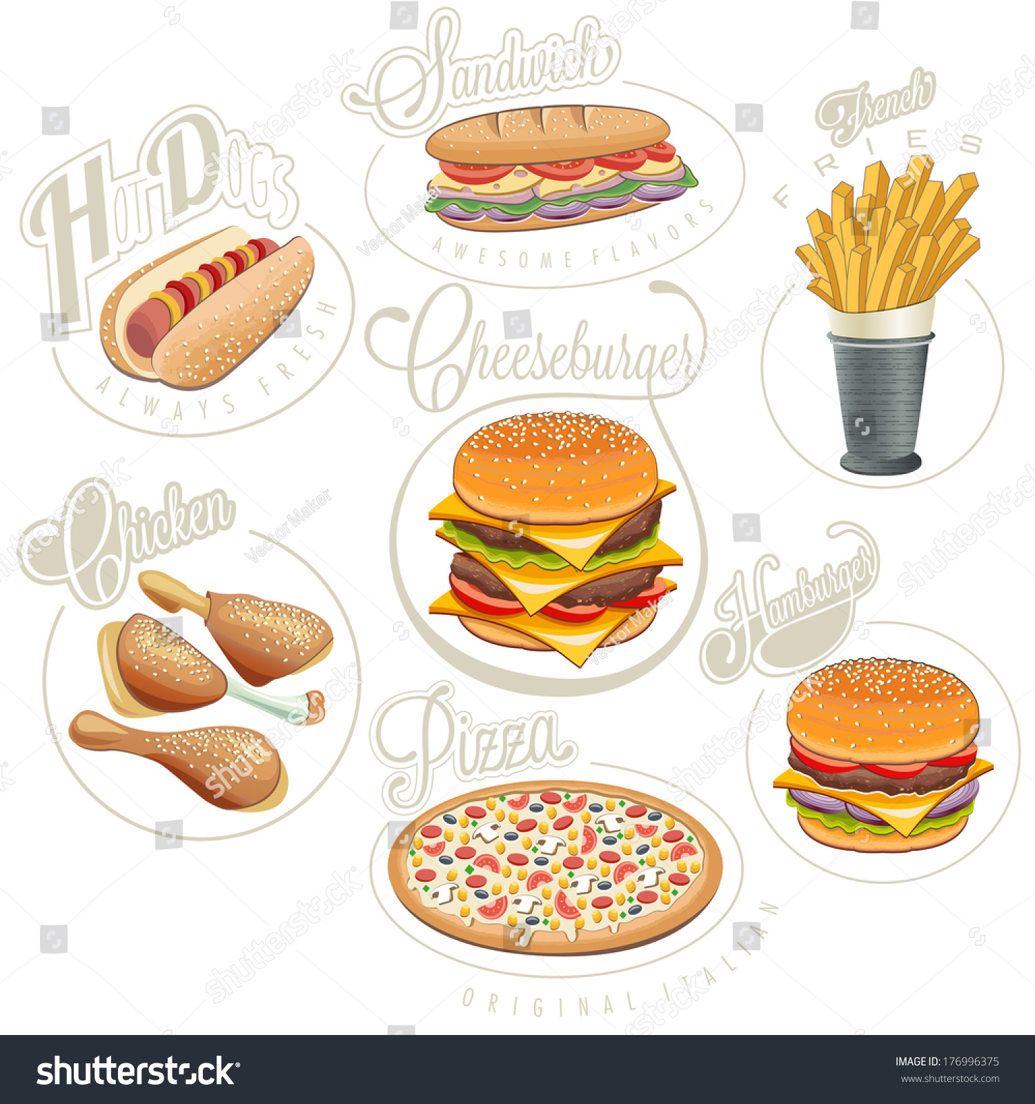 Retro Vintage Style Fast Food Designs Stock Vector Royalty Free