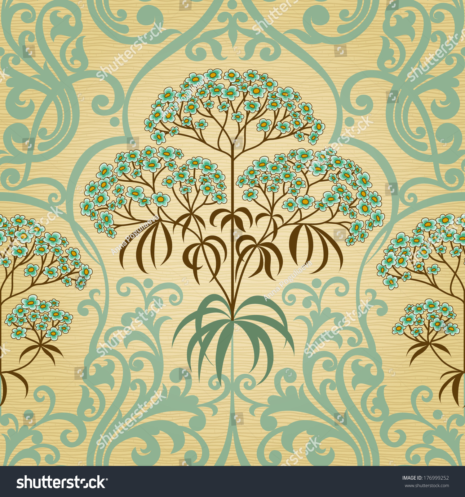 Traditional Floral Pattern Retro Style Ornamental Stock Vector