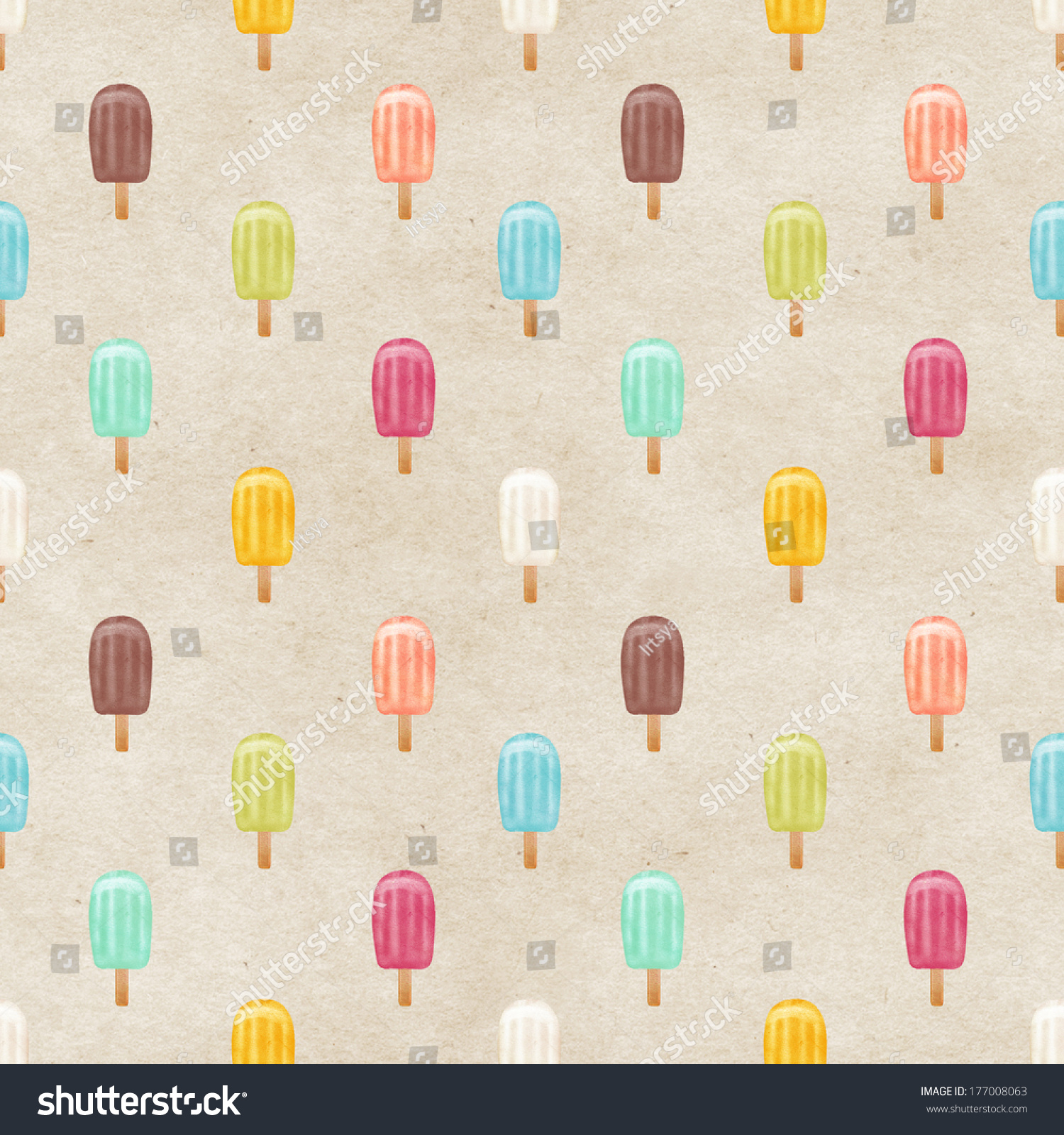 Seamless Pattern With Hand Drawn Watercolor Ice Cream: Seamless Watercolor Ice Cream Pattern On Paper Texture