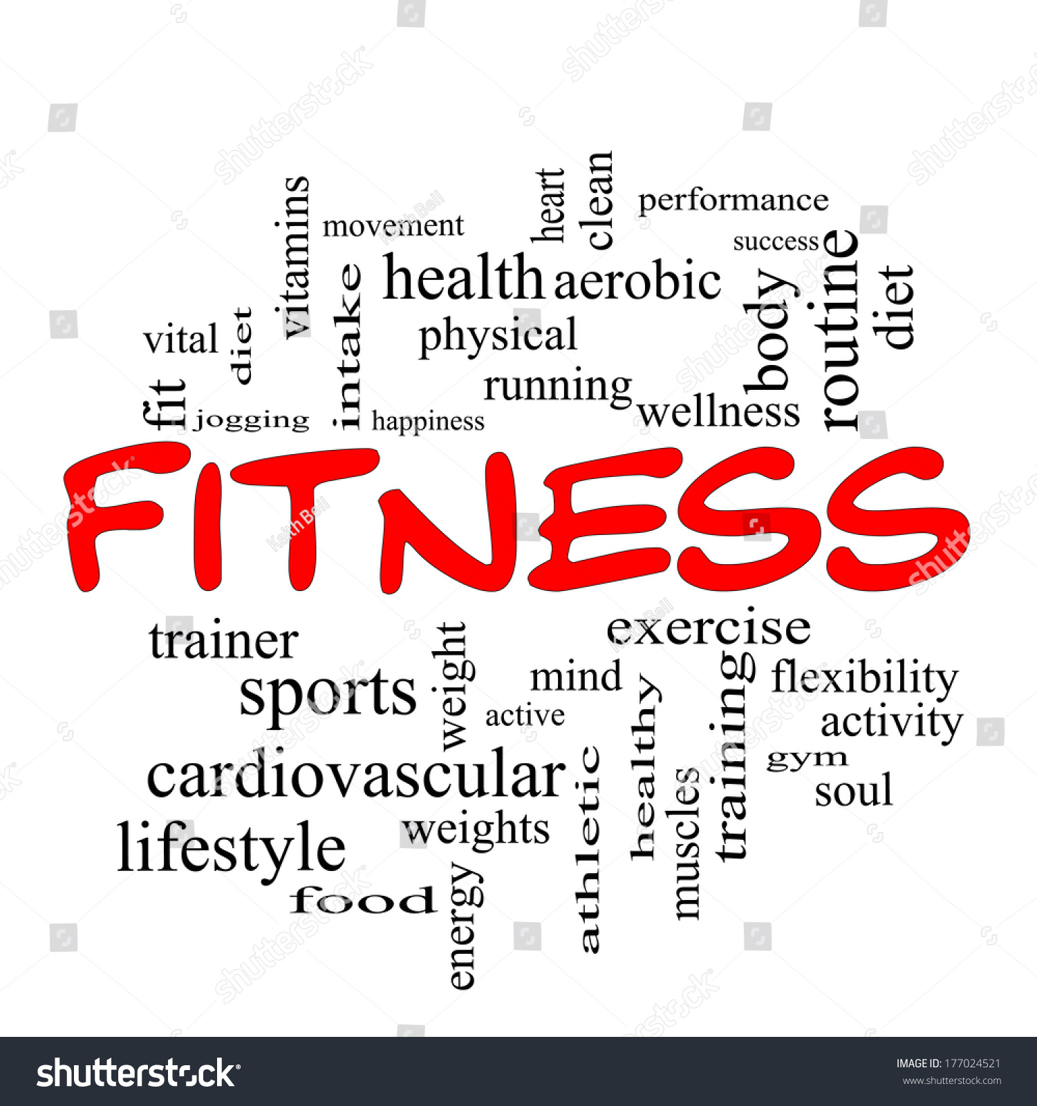 Workout Words: Fitness Word Cloud Concept In Red Caps With Great Terms