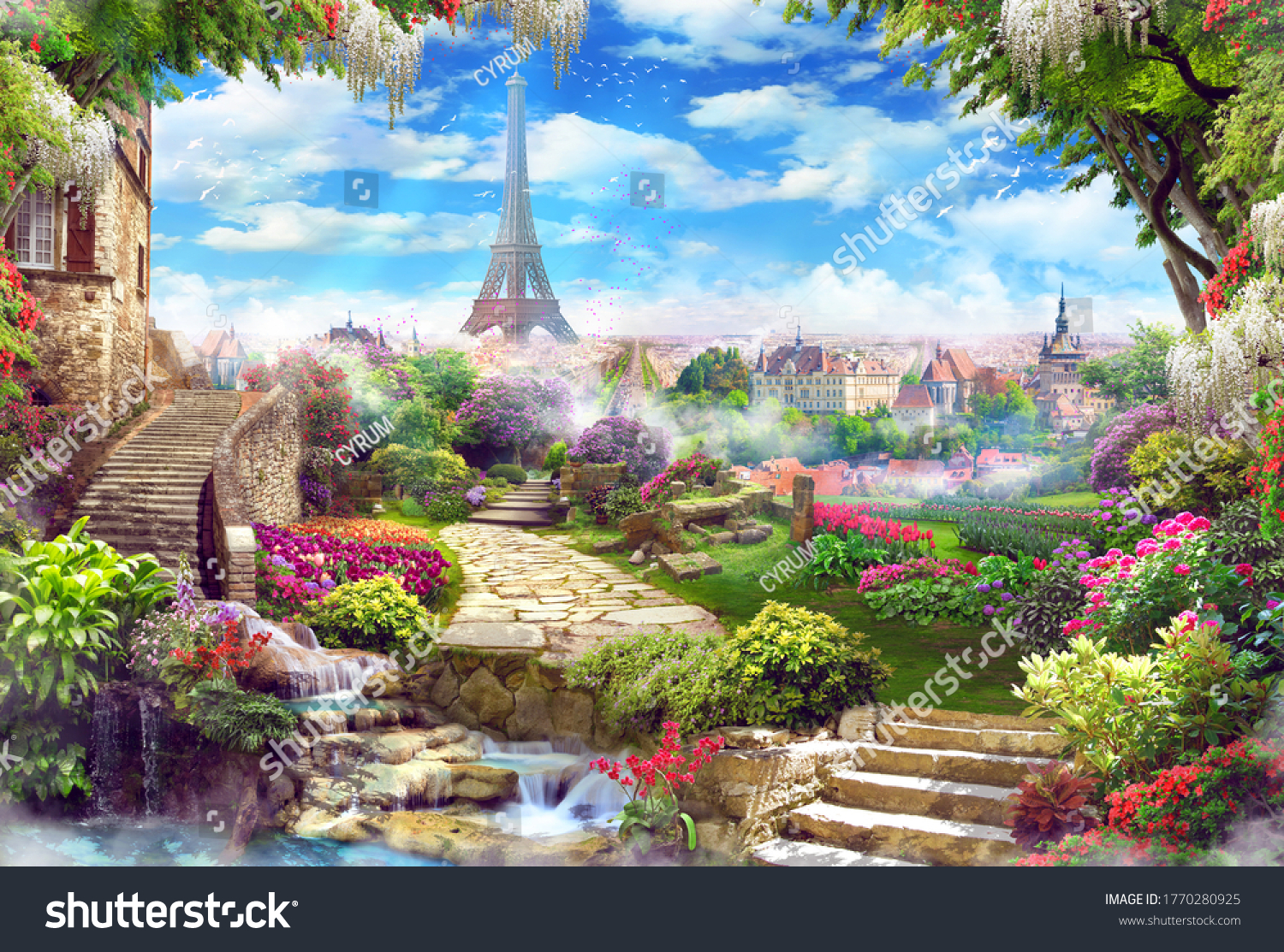 Beautiful view of the Eiffel Tower with access to the garden, with old houses, flowers and waterfalls. Digital collage, mural and mural. Wallpaper. Poster design. Modular panel.  #1770280925