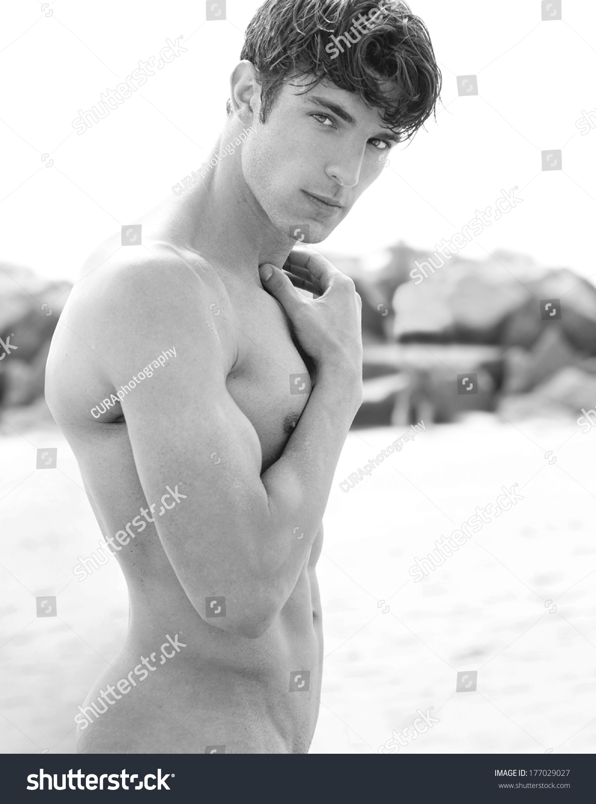 young nude model Beautiful outdoor fine art portrait of a young nude male model
