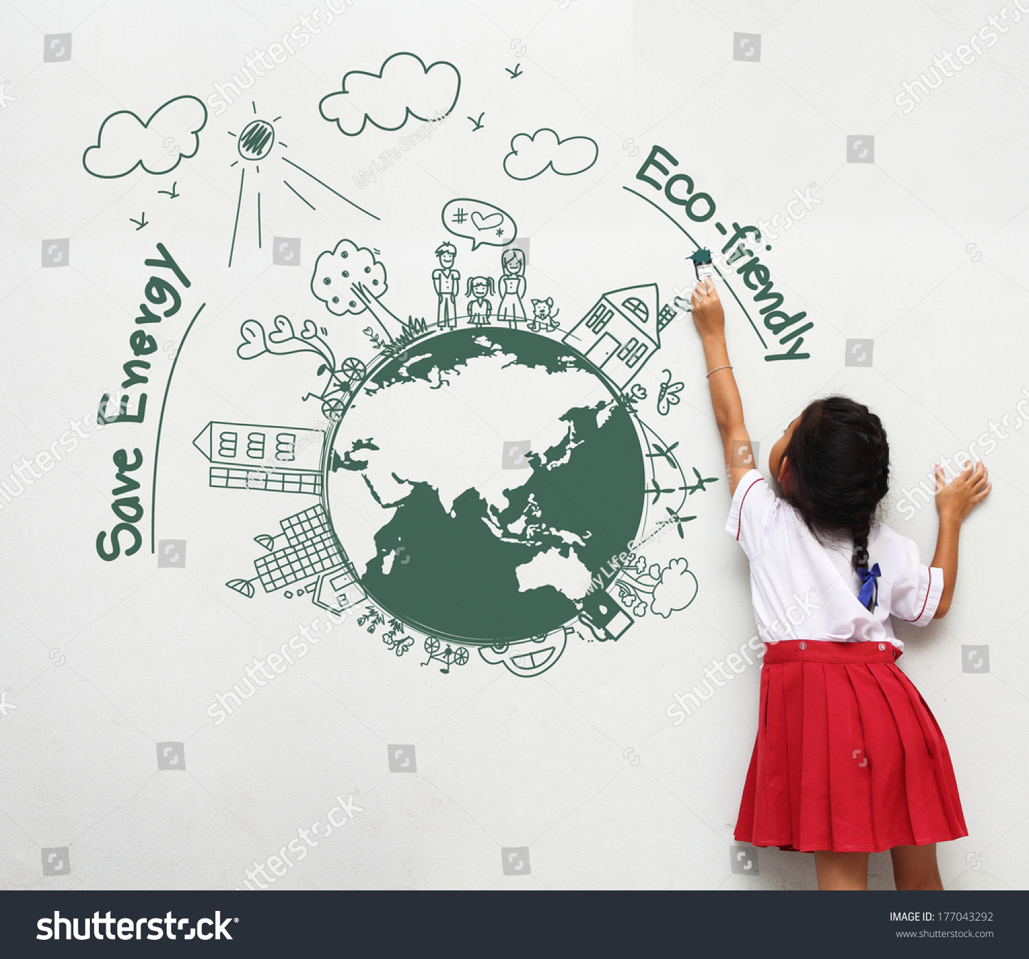 Girl holding paint brush painting on stock photo 177043292 for Save energy painting