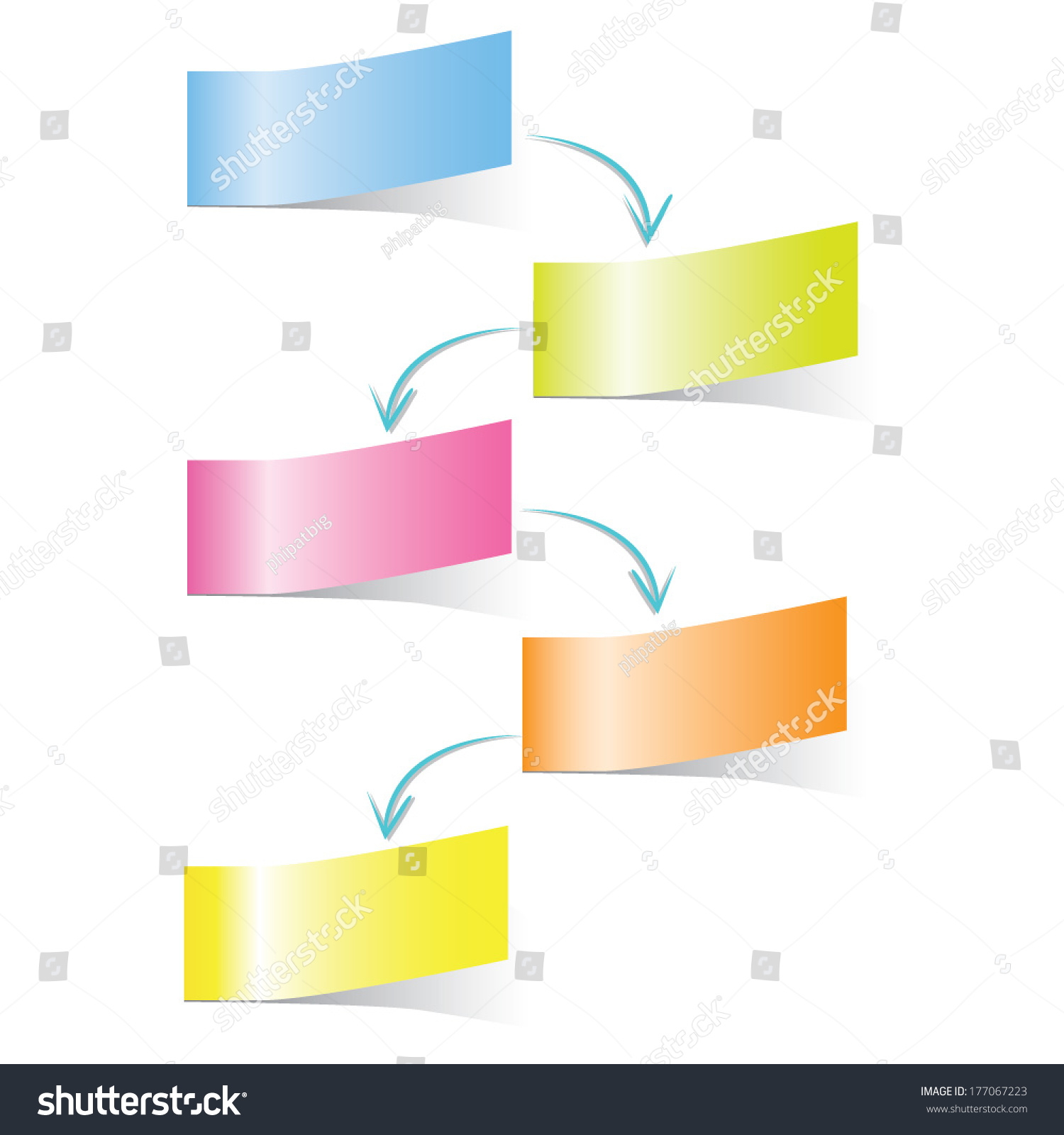 Process Flow Diagram Sticky Notes Concept Stock Vector Royalty Free Pictures In