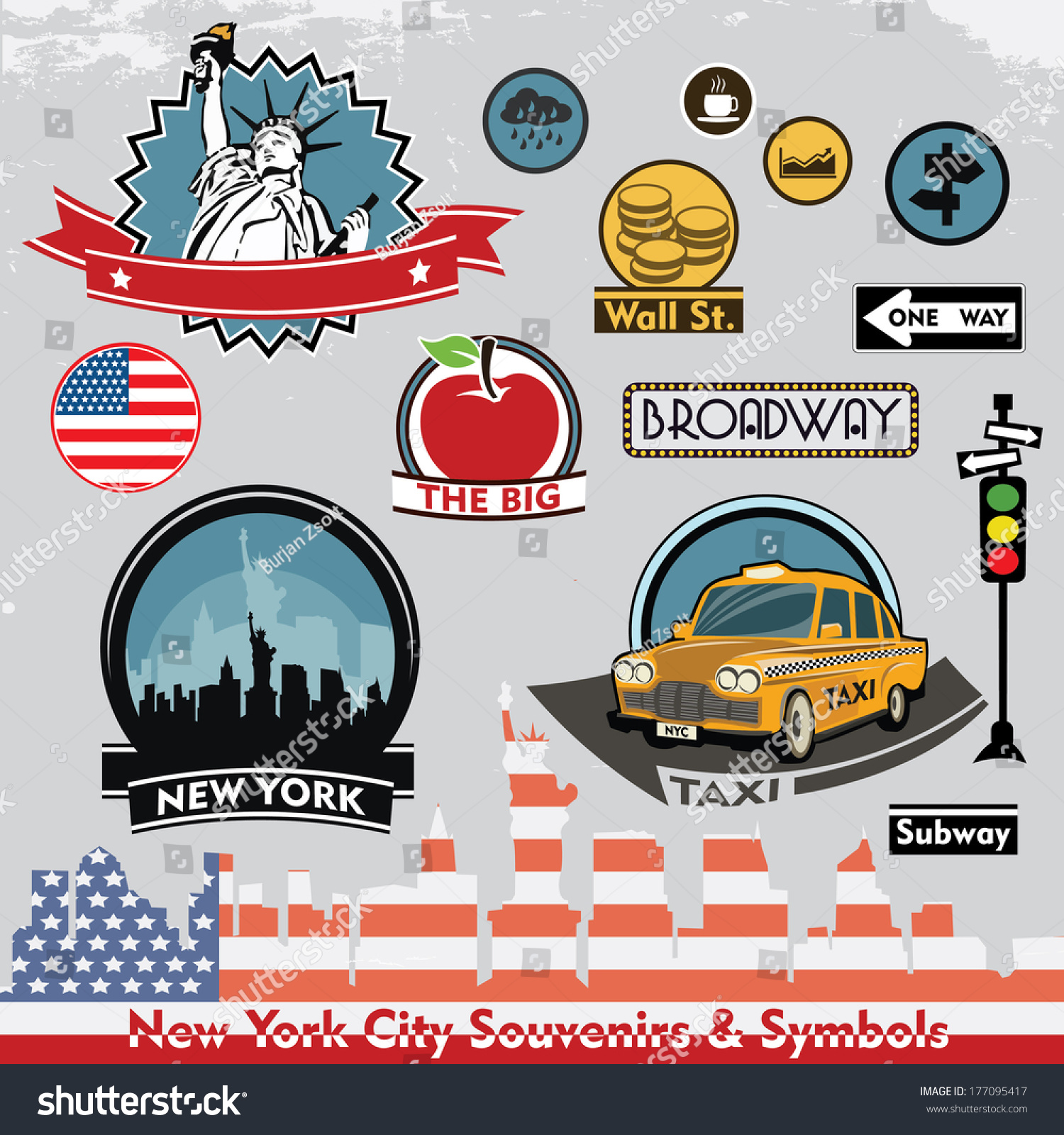 New york city souvenirs symbols vector stock vector 177095417 new york city souvenirs and symbols vector set of stickers and icons biocorpaavc Gallery