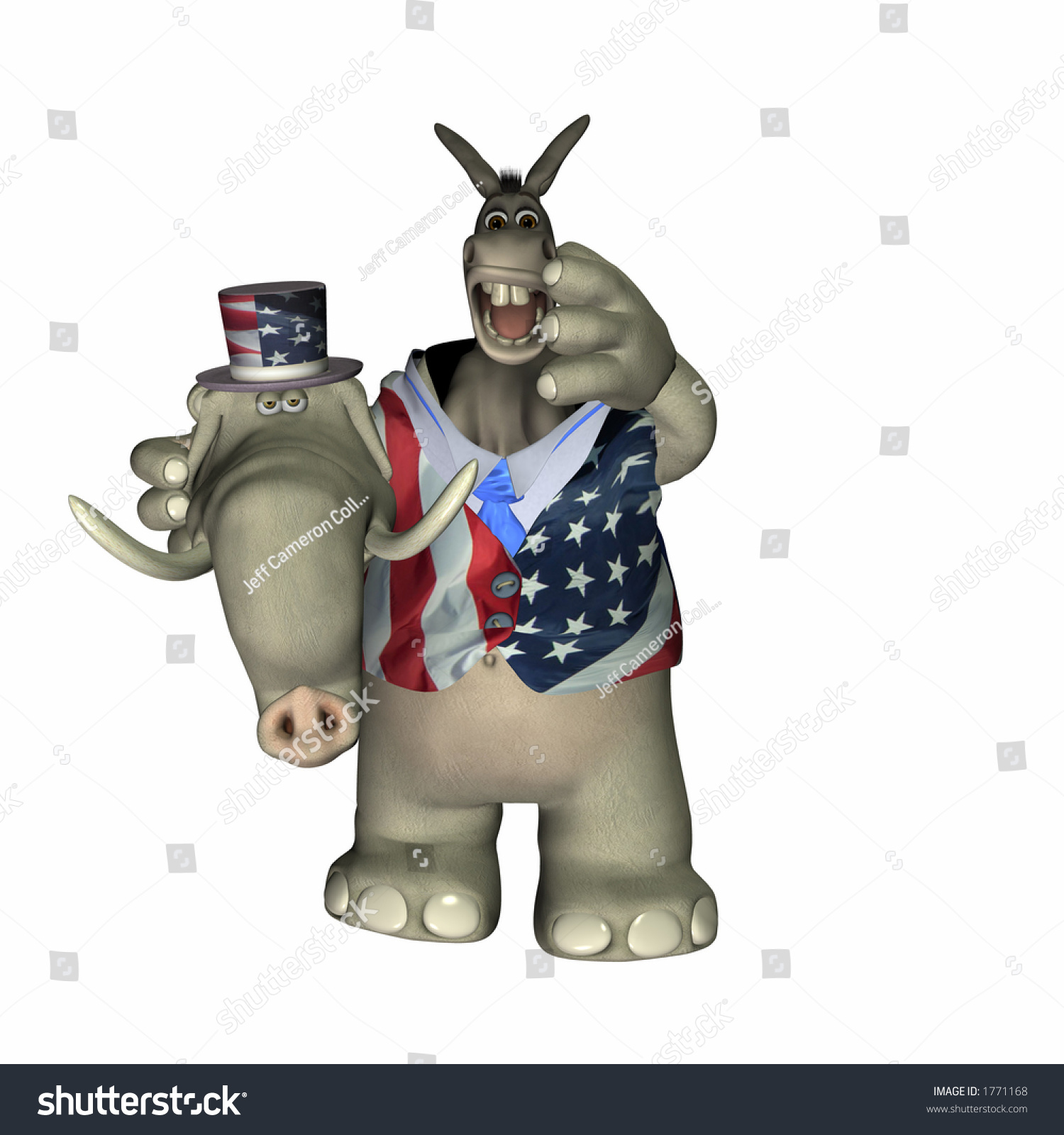 Liberal Donkey Caught Conservative Elephant Suit Stock ...