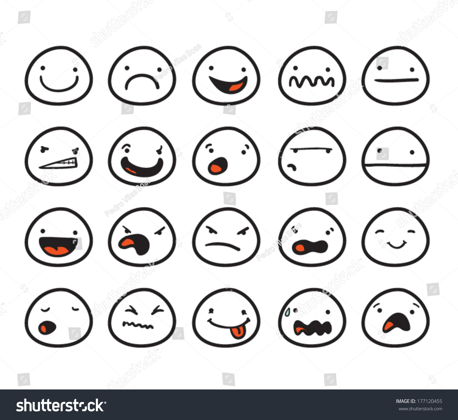 Set Cute Smiley Faces Different Expressions Stock Vector Royalty