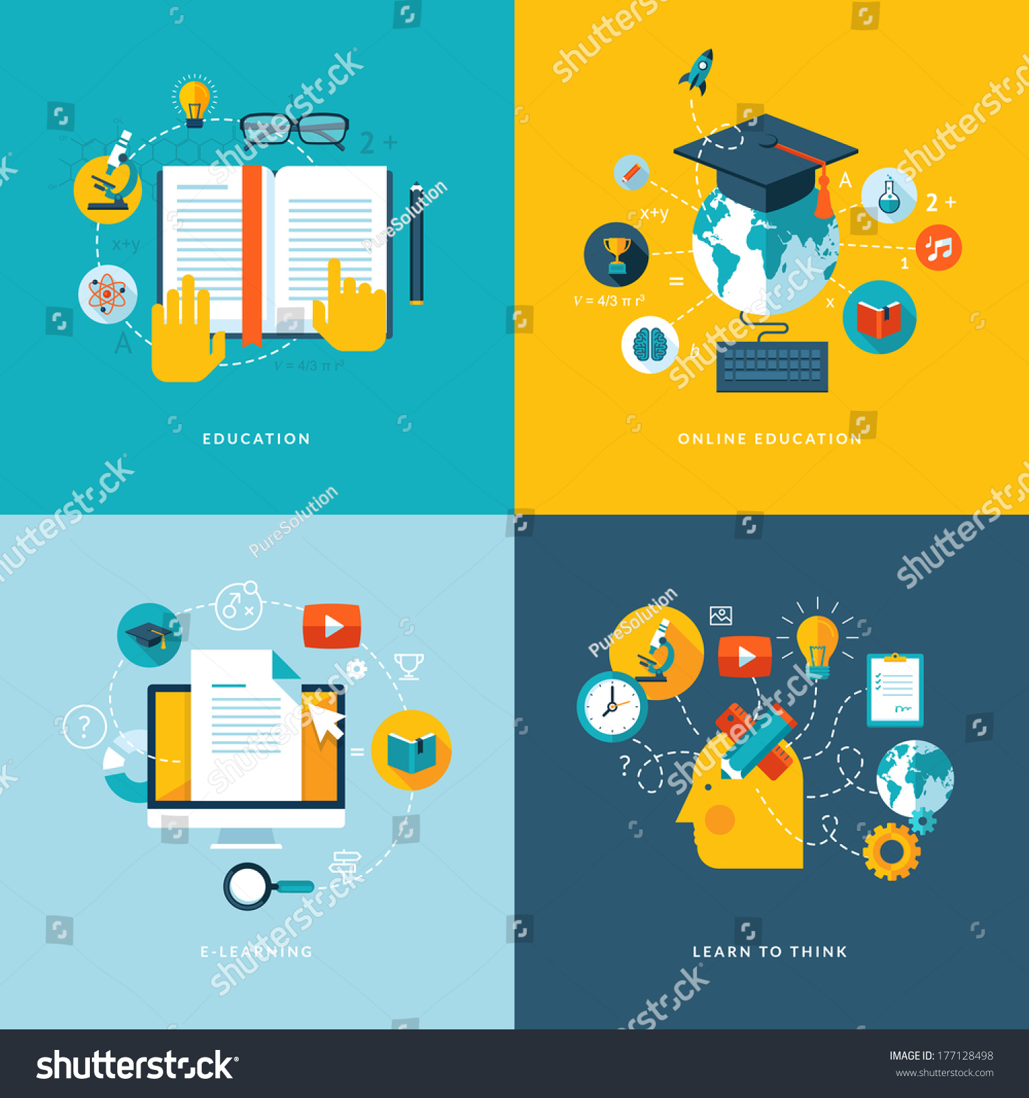 Set flat design concept icons web stock vector 177128498 shutterstock for How to learn web designing at home free