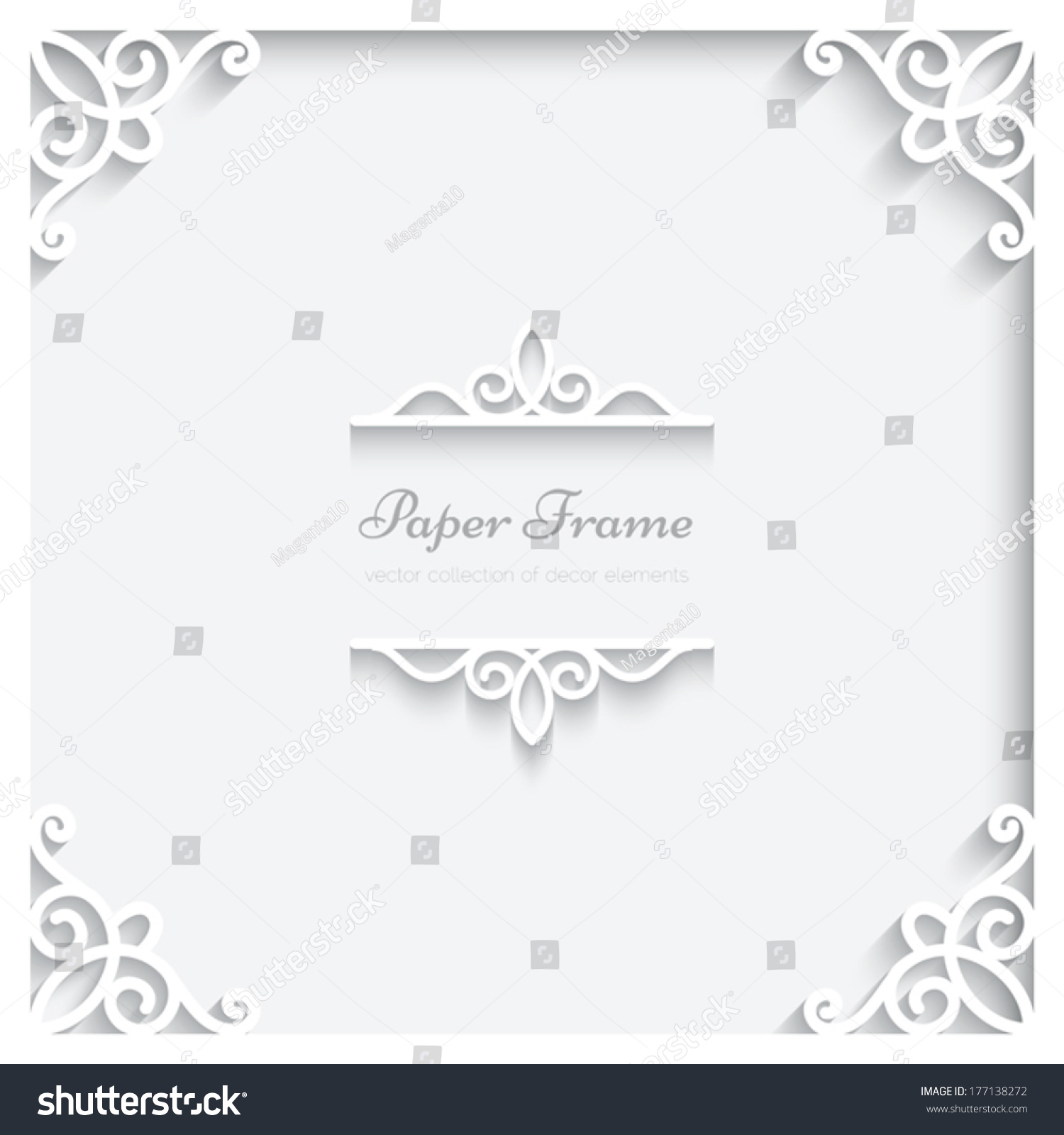 abstract paper frame with shadow divider header vector ornamental background eps10