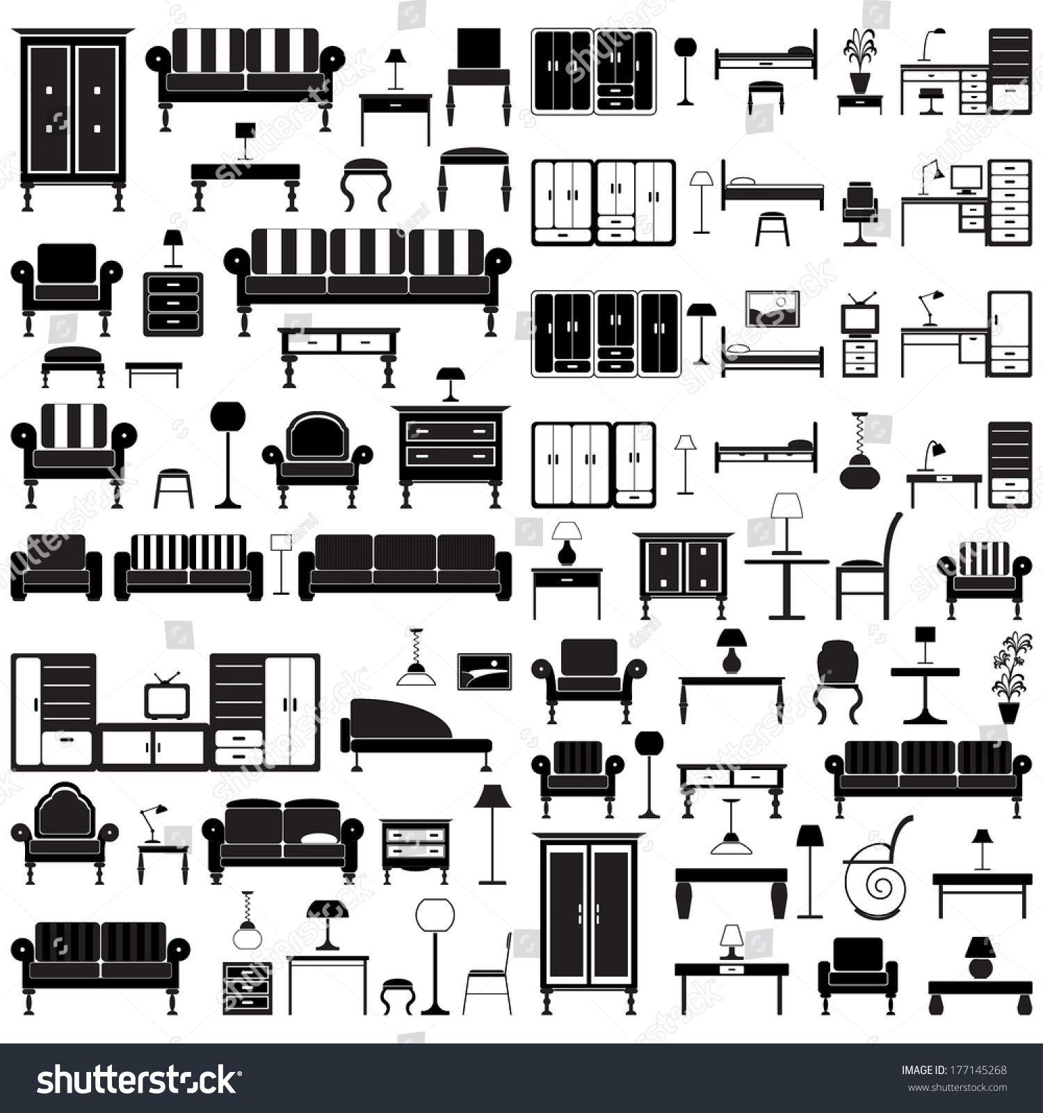 Home Furniture Icons Set Isolated On Stock Vector