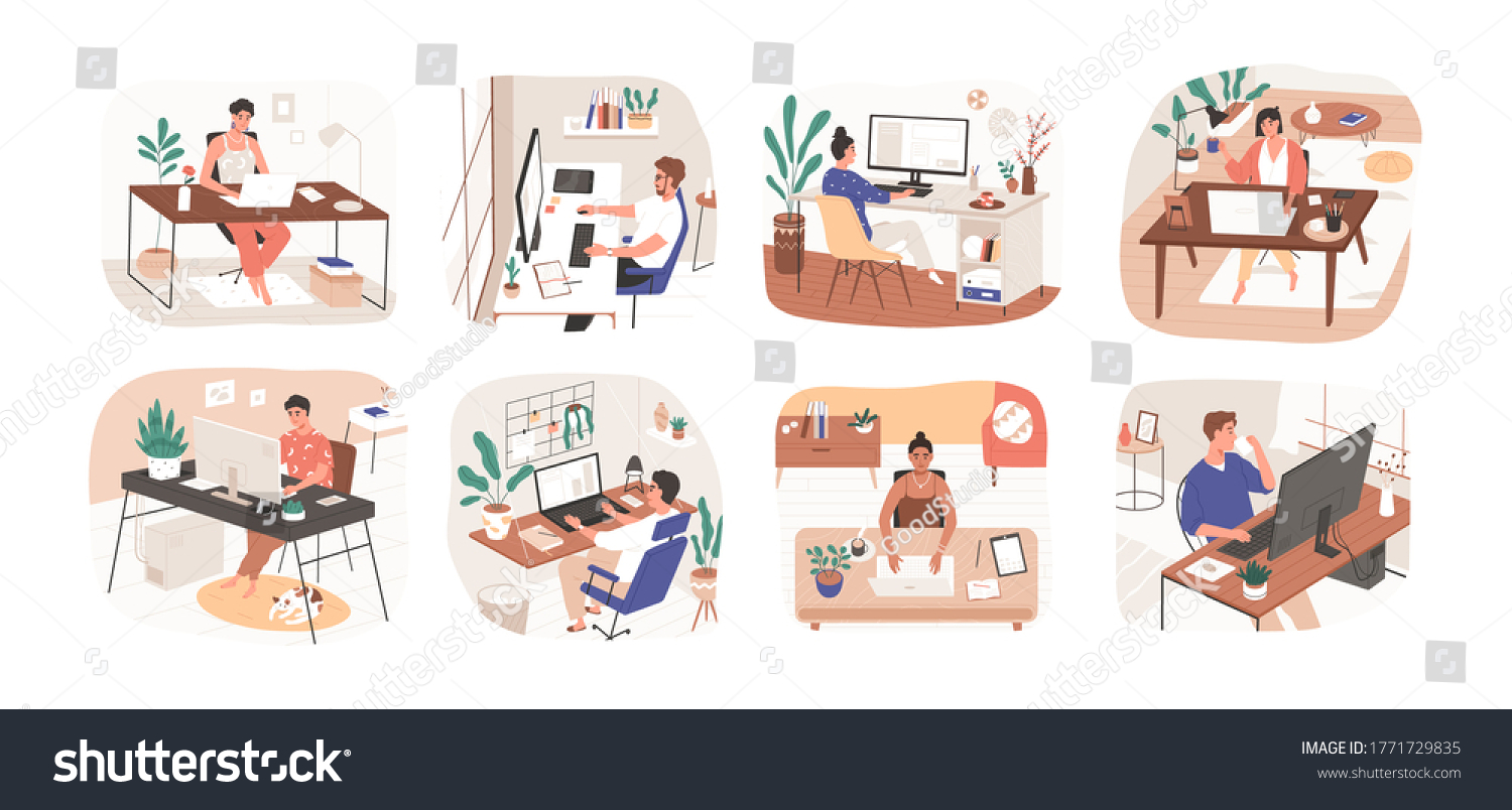 Set of freelance people working remotely vector flat illustration. Collection of man and woman use computer or laptop at comfortable workplace isolated on white. Self employed person at home office #1771729835