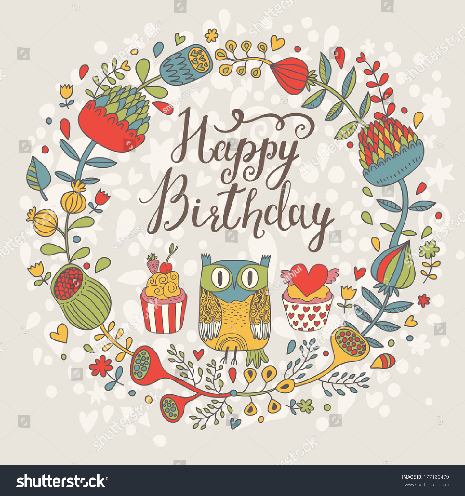 Sweet birthday card craftbnb wedding stationery sale wedding party an owls birthday craftbnb stock vector bright happy birthday card with cute owl tasty cupcakes in bookmarktalkfo Choice Image
