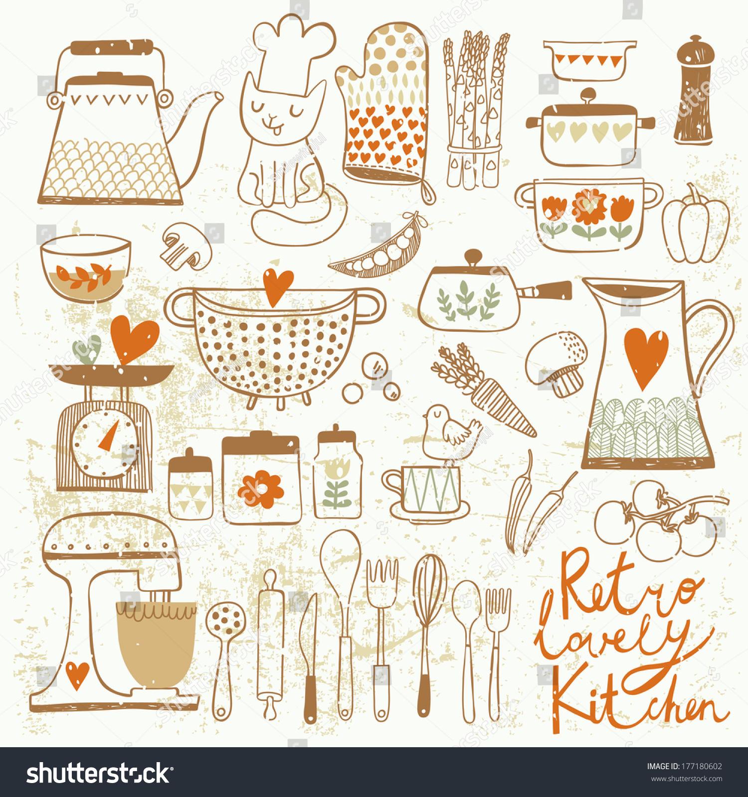 Vintage kitchen set vector stylish design stock vector for Kitchen set vector