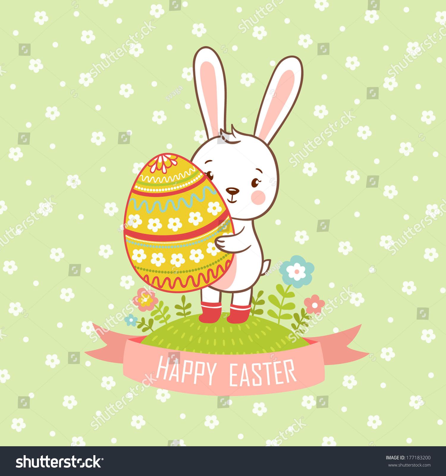 cartoon easter rabbit egg card easter stock vector 177183200