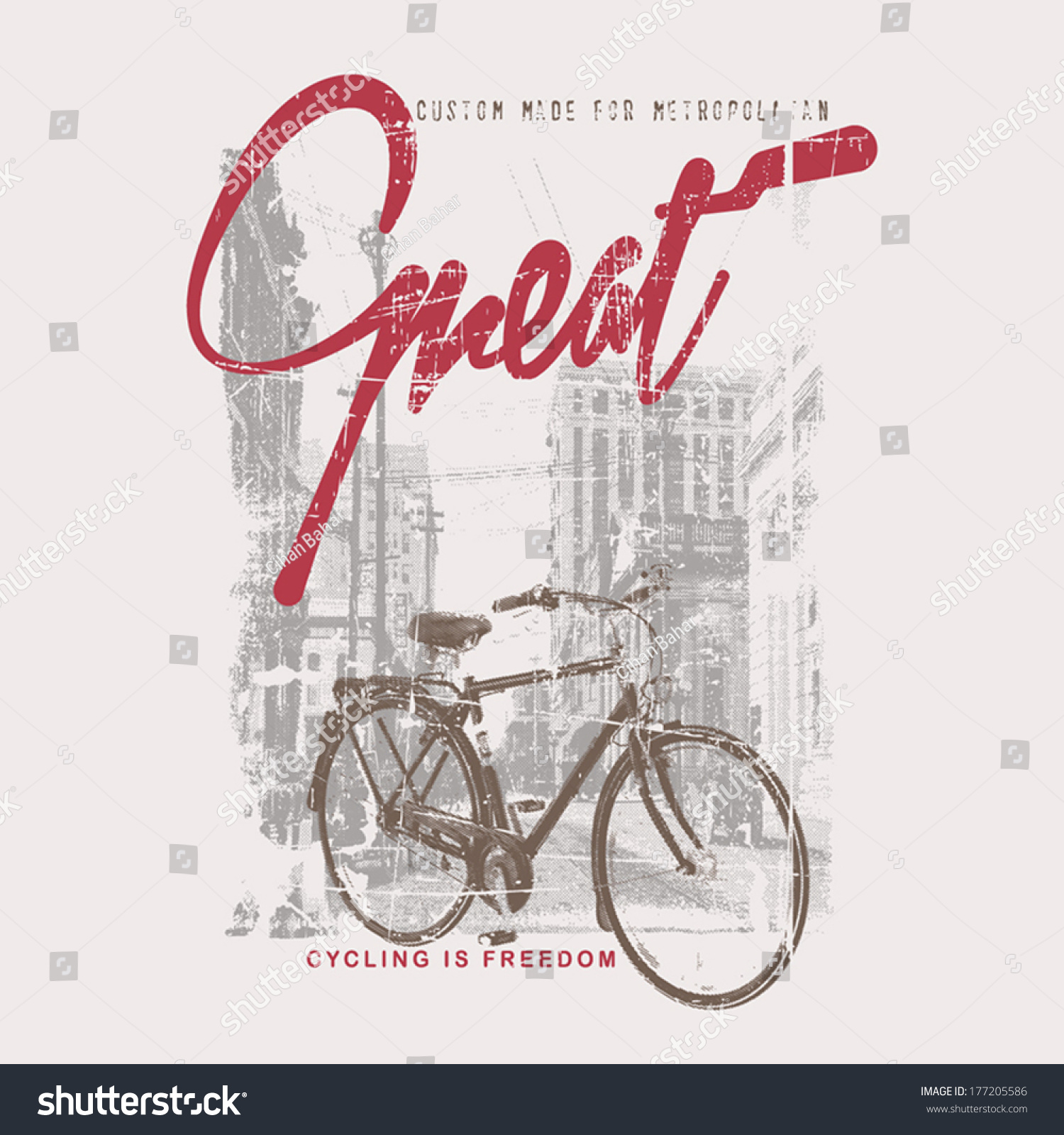 Cycling Themed T Shirt Printing Design Stock Vector 177205586 ...