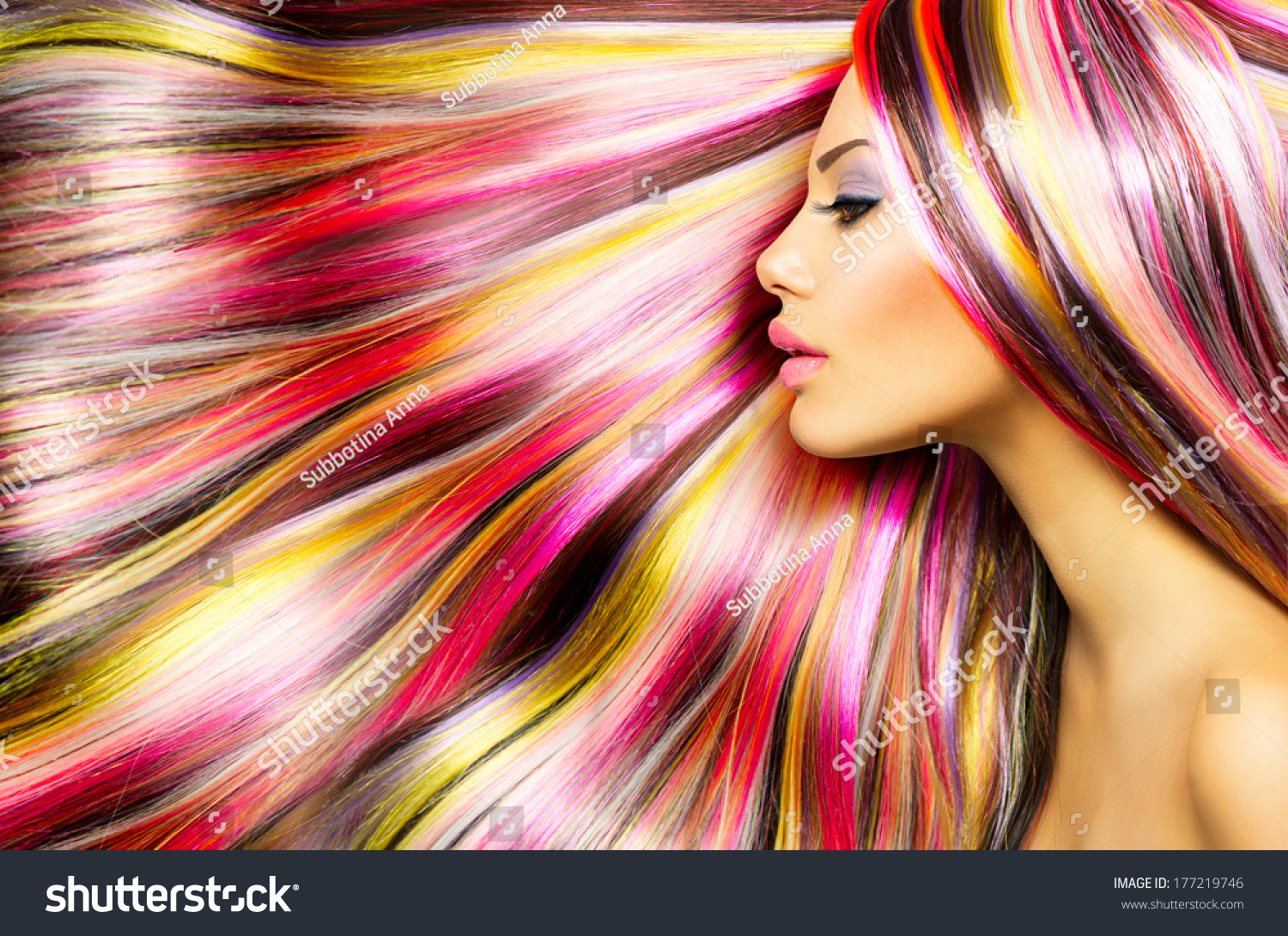 beauty fashion model girl with colorful dyed hair colourful long hair