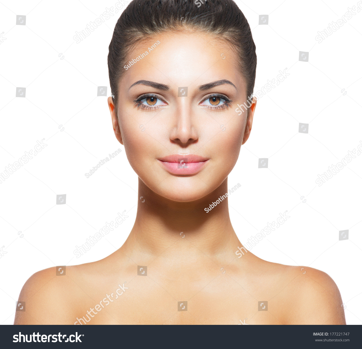 Beautiful face young woman clean fresh stock photo for Spa closest to me