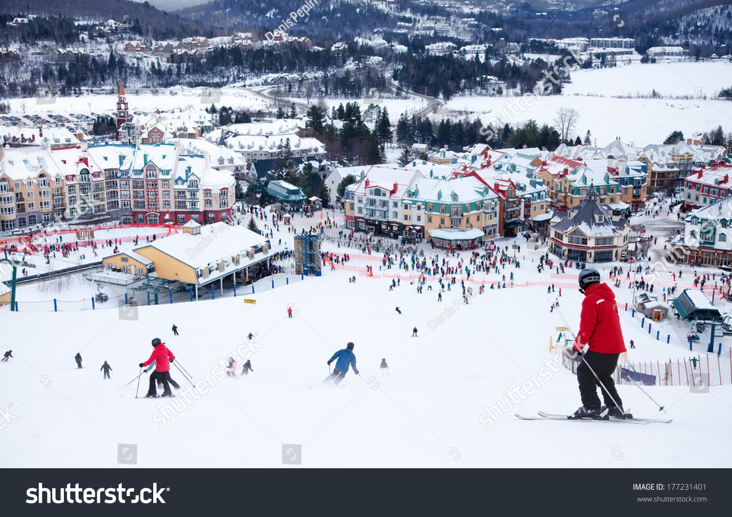 Mont-Tremblant (QC) Canada  city images : MONT TREMBLANT, QC, CANADA FEBRUARY 9: Skiers and snowboarders are ...