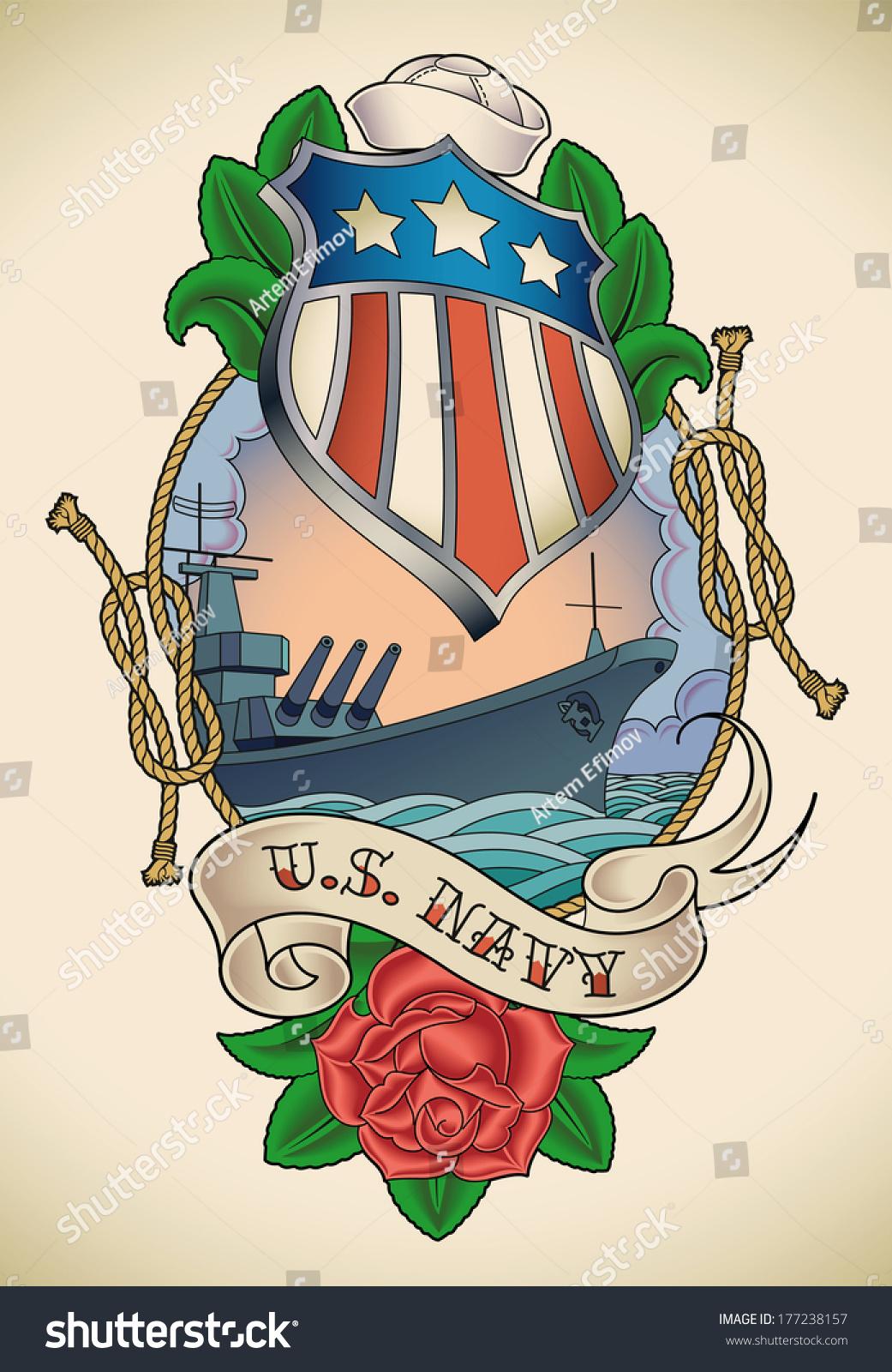 Oldschool us navy tattoo star striped stock illustration 177238157 old school us navy tattoo of a star striped shield battleship banner and buycottarizona