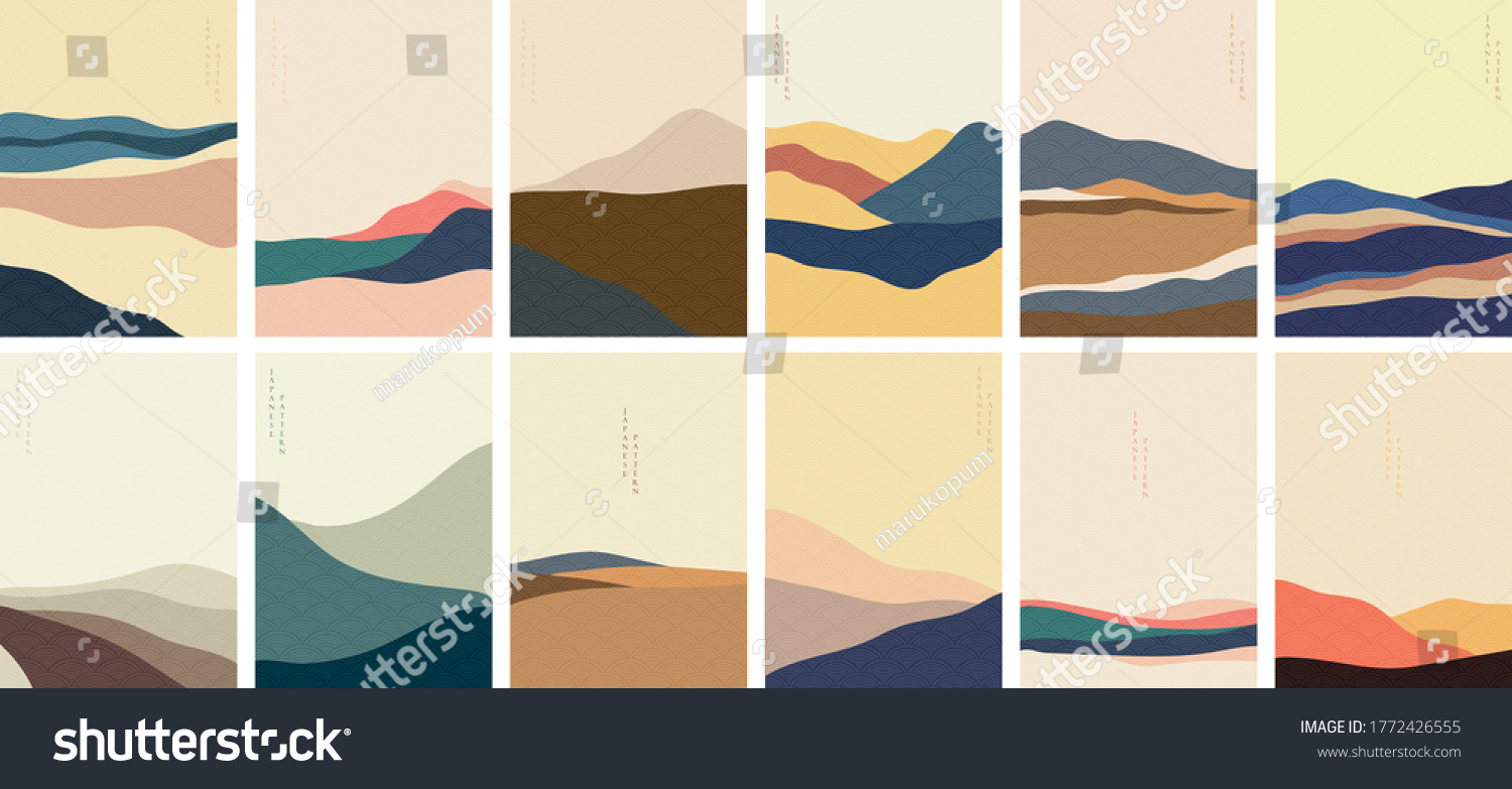 Landscape background with Japanese pattern vector. Mountain template with curve elements in vintage style. #1772426555