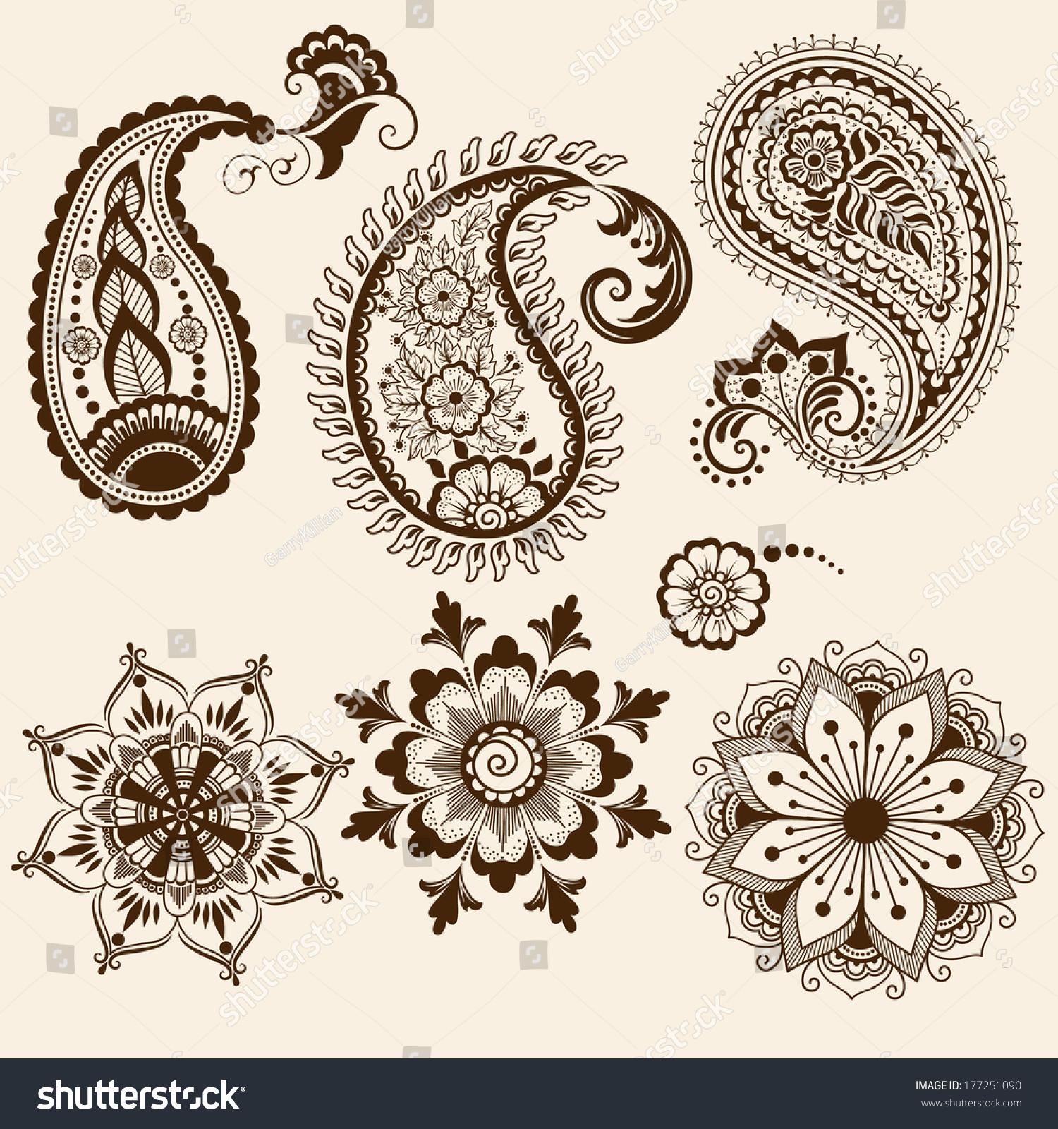 Set Of Black Flower Design Elements Vector Illustration: Set Vector Abstract Floral Elements Indian Stock Vector