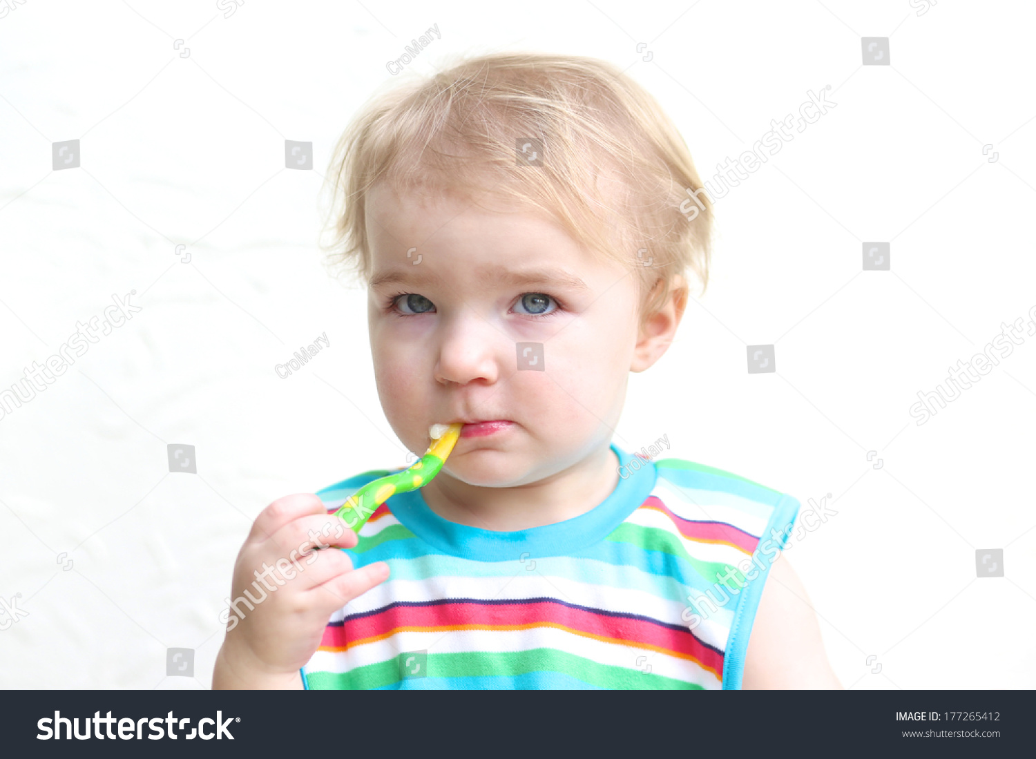 11a9cfc3a Portrait Cute Blonde Toddler Girl Wearing Stock Photo (Edit Now ...