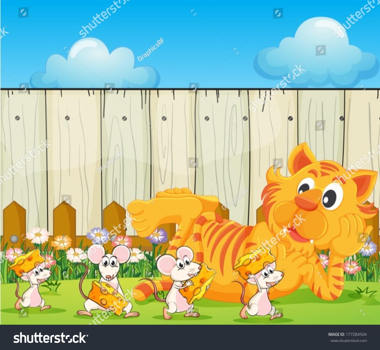 illustration tiger group rats backyard stock vector 177284504