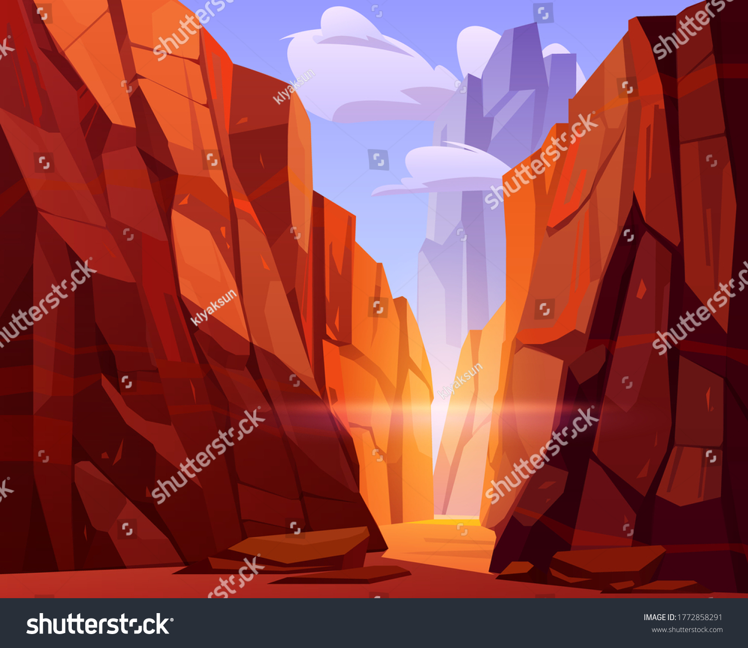 Desert road in canyon with red mountains. Vector cartoon landscape of nature park, ground road in gorge with stone cliffs and rocks. Grand canyon national park in Arizona