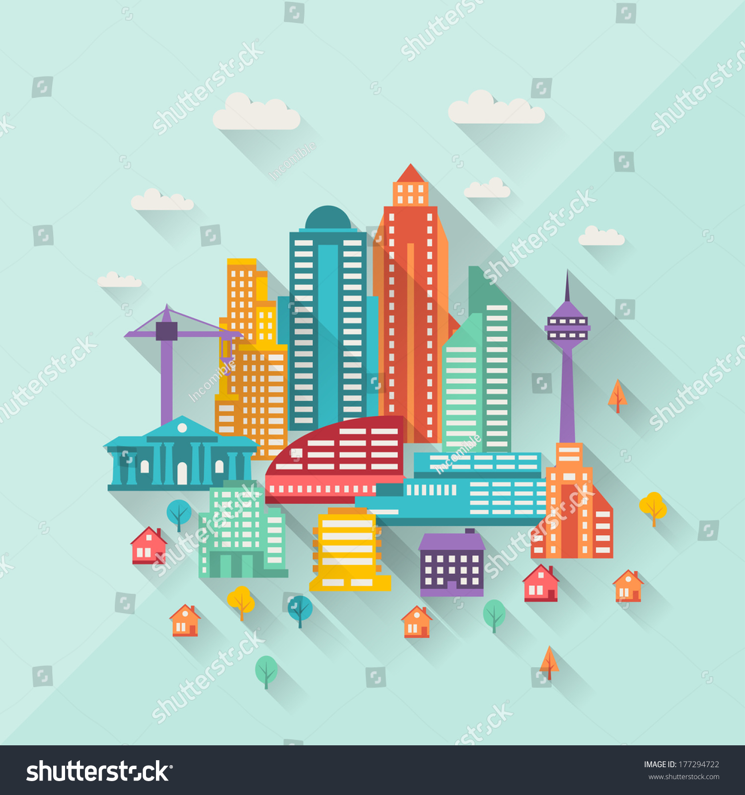 Design Style royalty-free cityscape illustration with buildings… #177294722