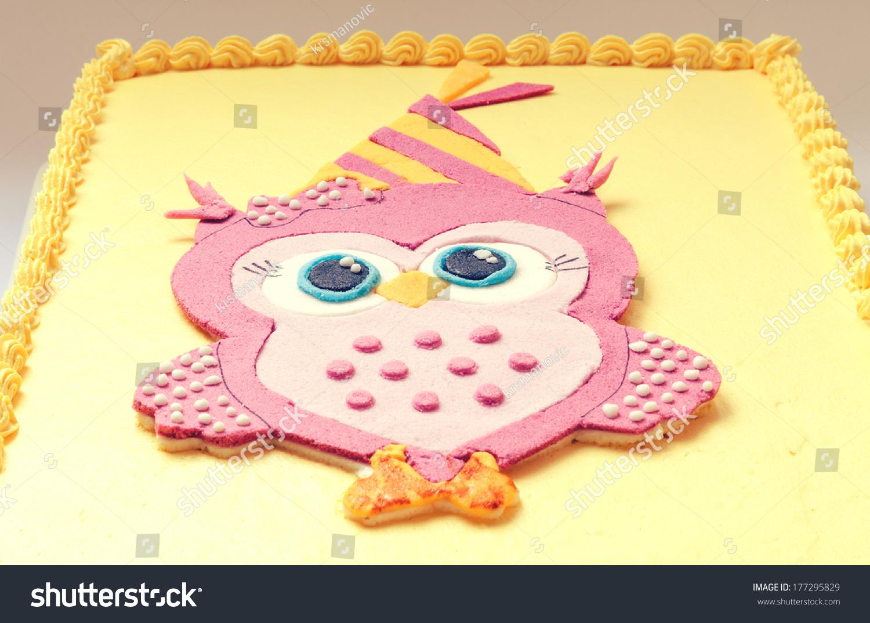 Yellow Birthday Cake Pink Owl Sugar Stock Photo Edit Now 177295829