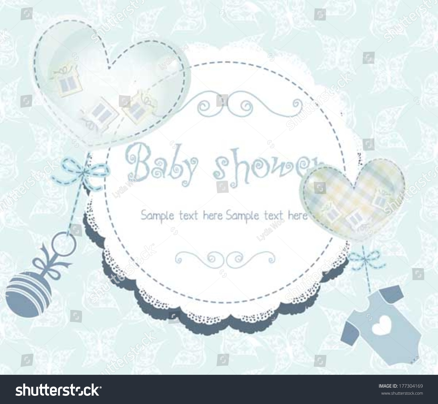 Baby Shower Card With Cute Baby Accessories In Blue Color