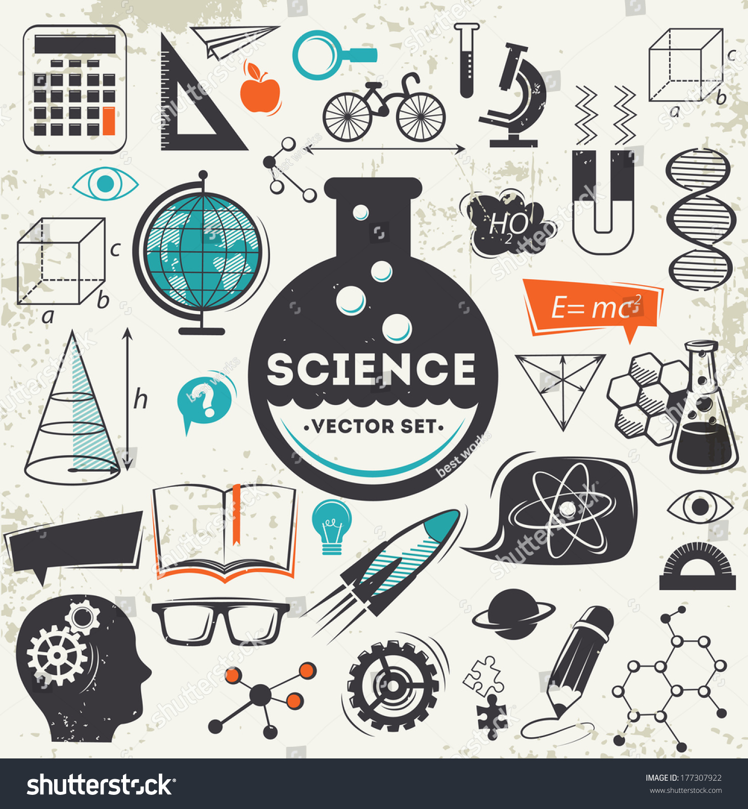 Science Icons Set Stock Vector 177307922 Shutterstock
