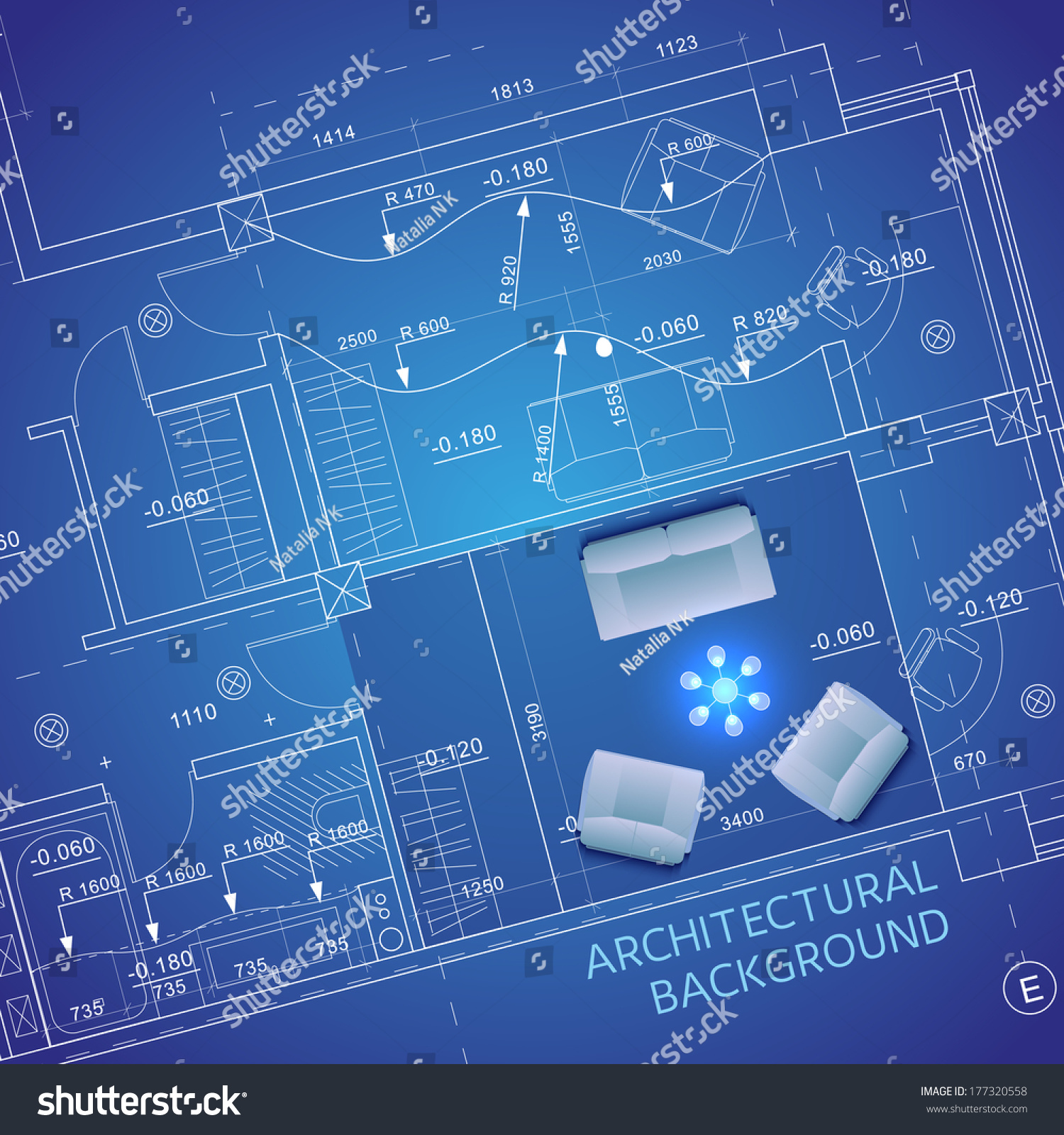 Blueprint Furniture Vector Illustration Stock Vector (Royalty Free