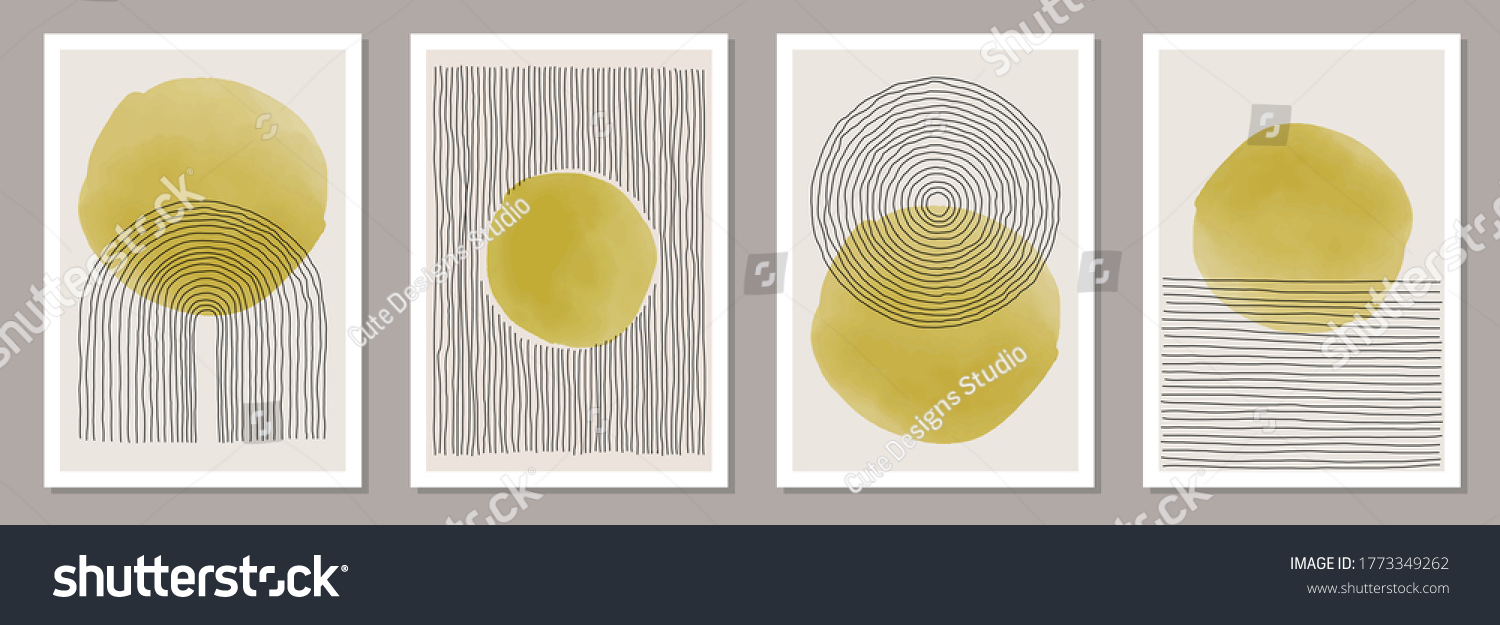 Trendy set of abstract creative minimal artistic hand painted compositions ideal for wall decoration, as postcard or brochure design, vector illustration #1773349262