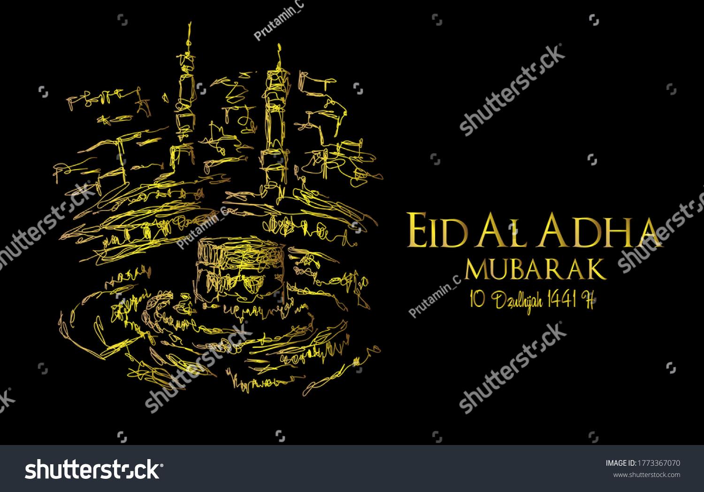 Muslim holiday Eid al-Adha.1441 H the sacrifice a ram. graphic design decoration kurban bayrami. month is mean muslim event