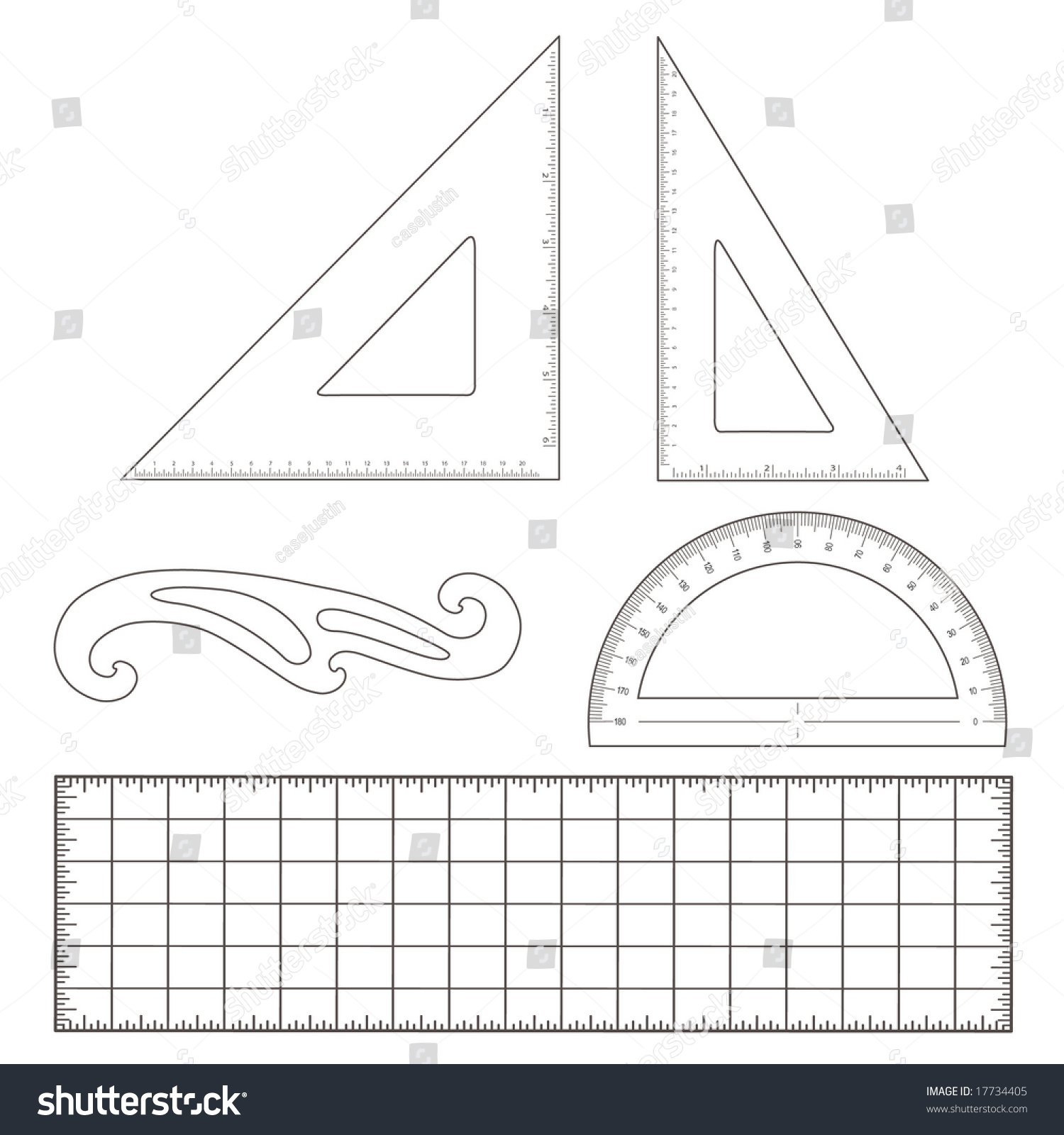 Drafting Tools For Engineering And Architectural Drawing: 45 Degree  Triangle, 60 Degree Triangle,