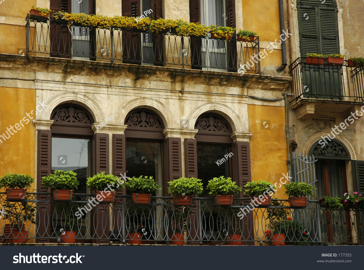 Balcony in verona italy stock photo 177355 shutterstock for Balcony in italian