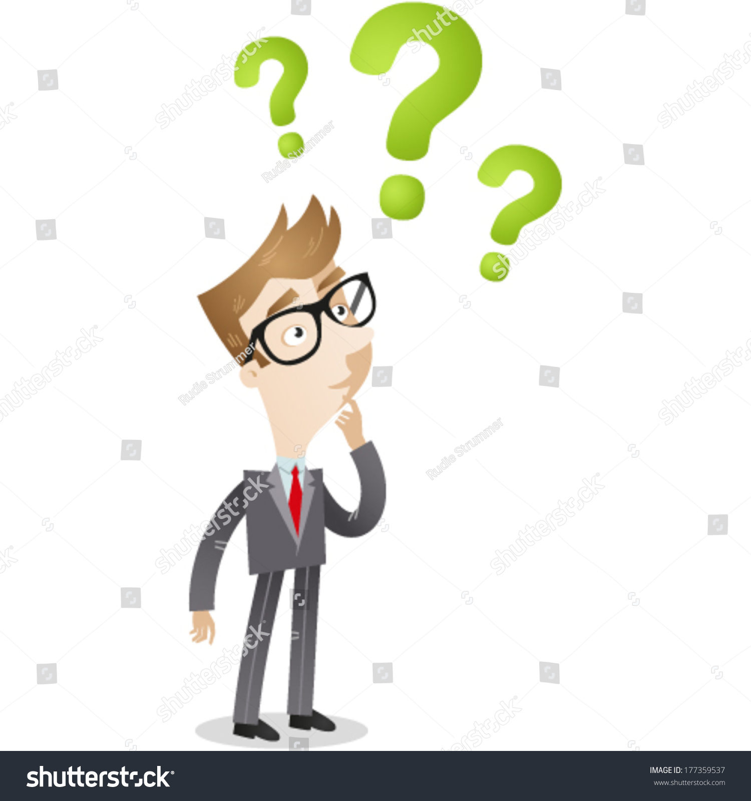 vector illustration clueless cartoon businessman looking stock