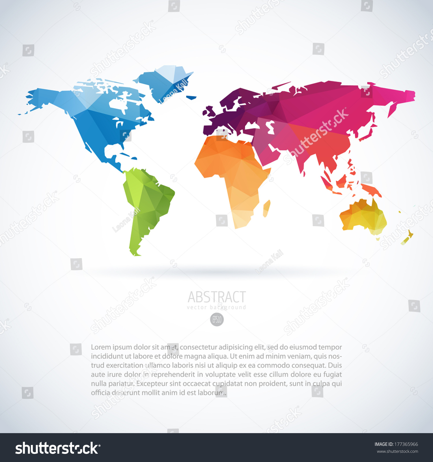 Simple vector template continental world map vectores en stock simple vector template of continental world map with modern triangle pattern gumiabroncs Image collections